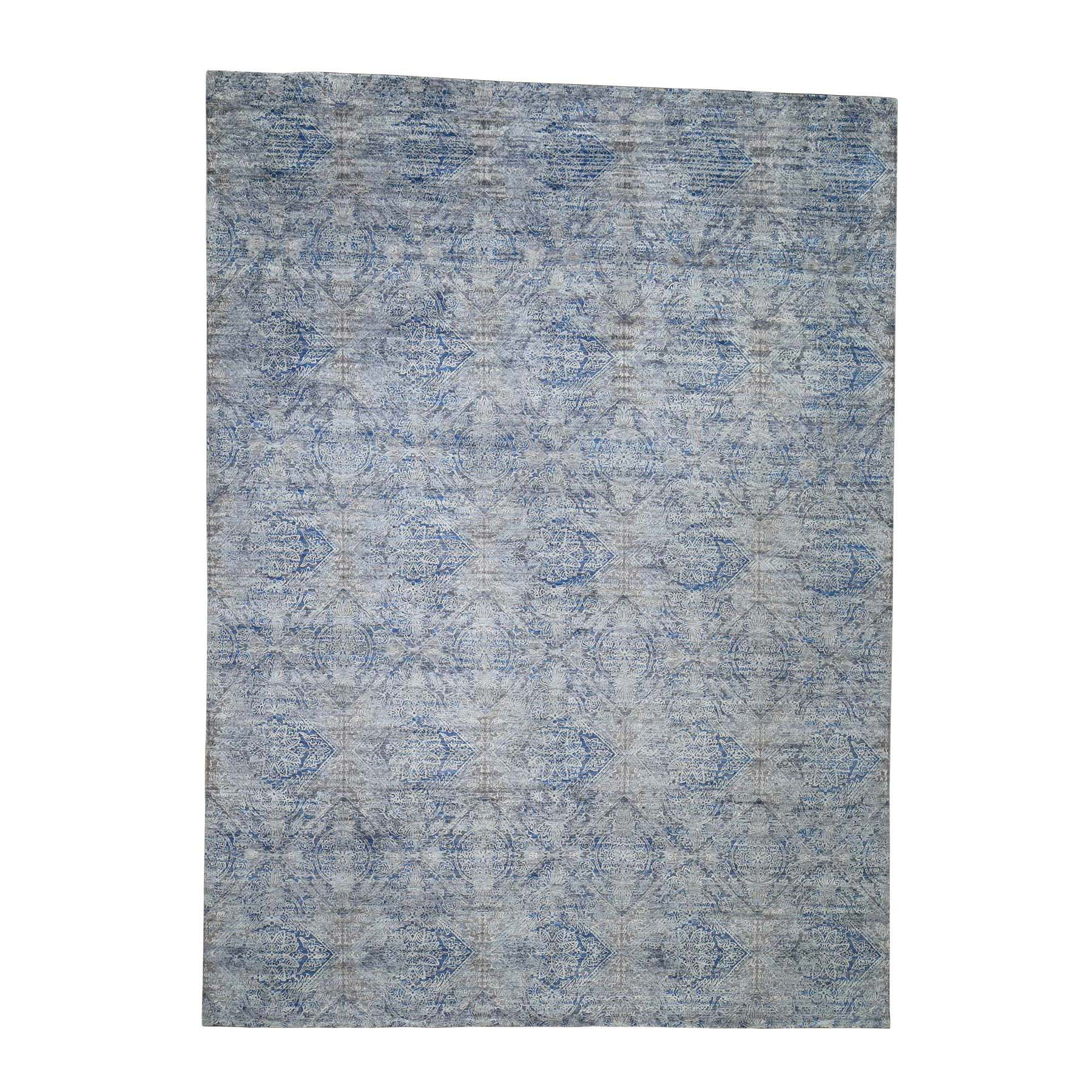 "8'9""x12' Silk With Textured Wool Denim Blue Erased Rossette Design Hand-Knotted Oriental Rug"