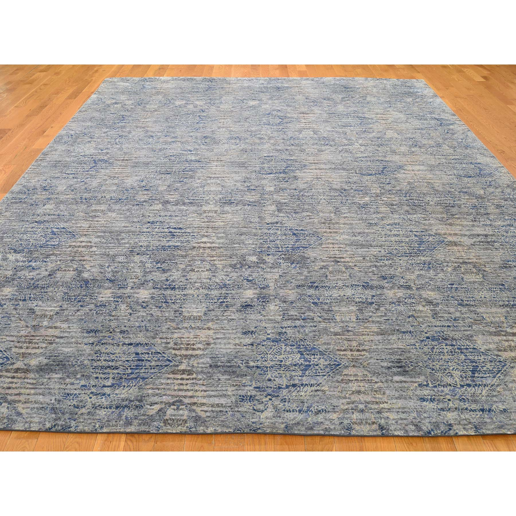 8-9 x12- Silk With Oxidized Wool Denim Blue Erased Rossette Design Hand-Knotted Oriental Rug