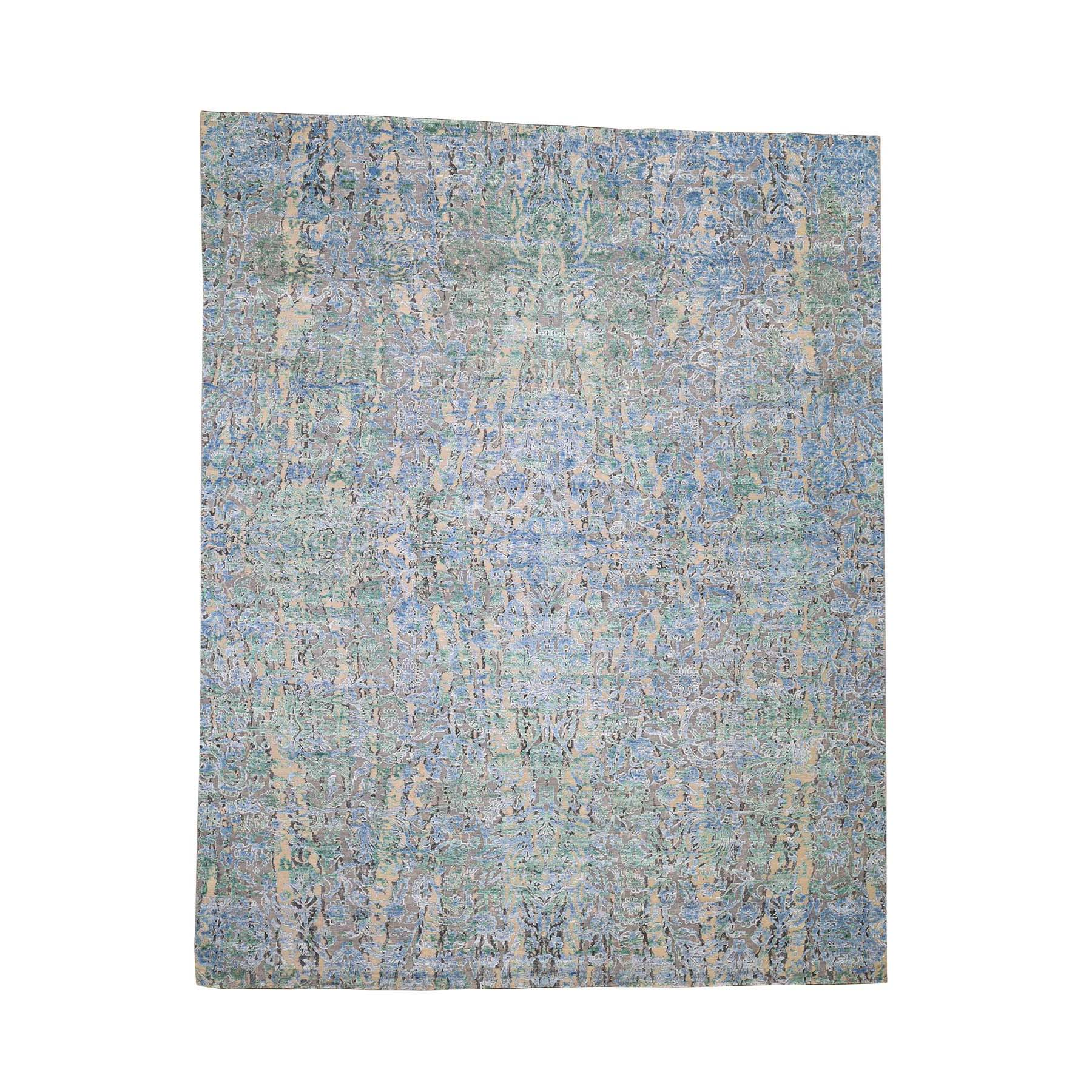 "7'10""X10' The Water Lilies Silk With Oxidized Wool Hand-Knotted Oriental Rug moaddbbc"