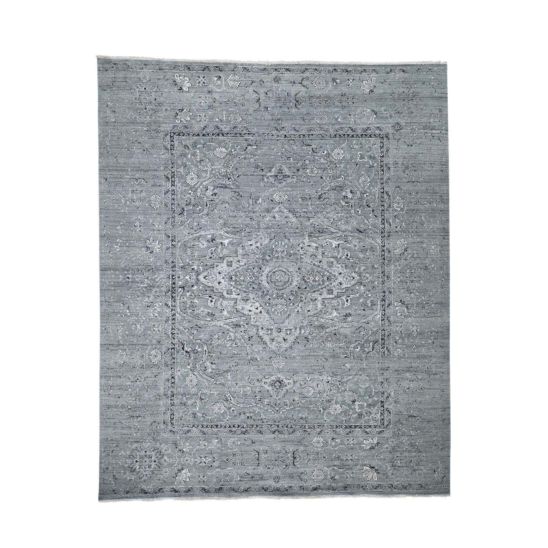 "8'3""X10'1"" Silk With Oxidized Wool Broken Persian Design Hand-Knotted Oriental Rug moaddbbd"