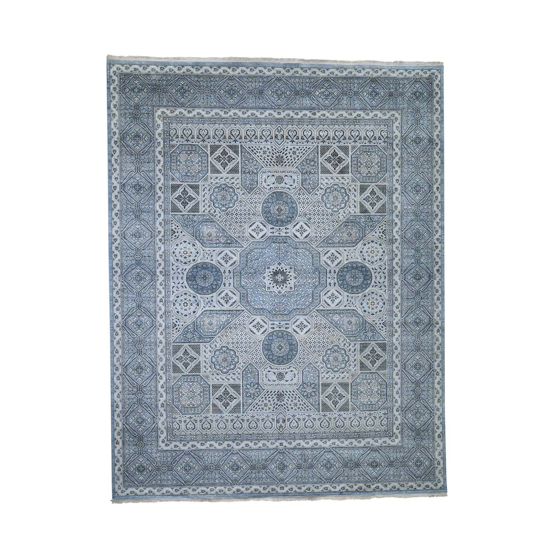 "9'x11'8"" Textured Pure Silk With Mamluk Design Hand-Knotted Oriental Rug"