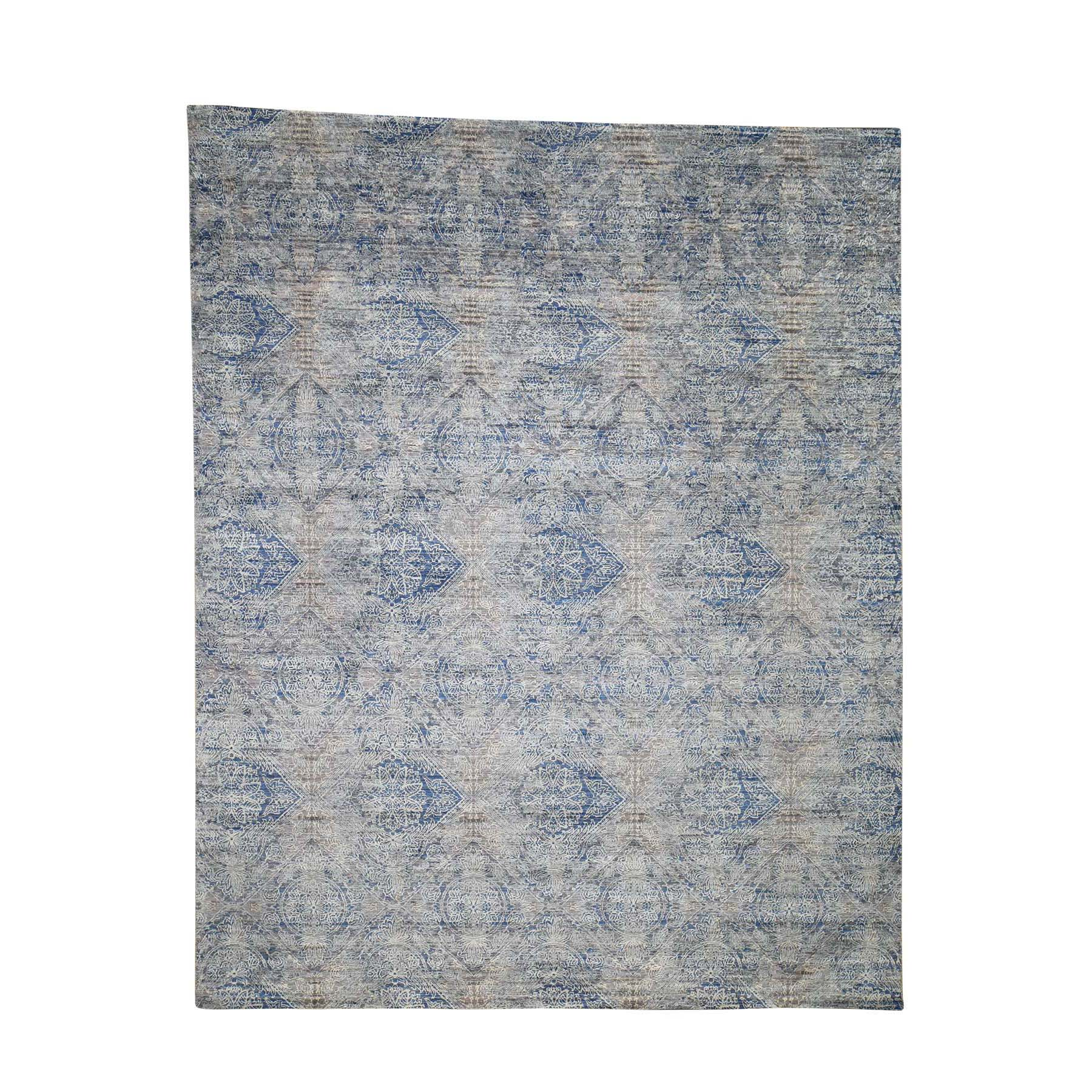8'x10' Silk With Textured Wool Denim Blue Erased Rossette Design Hand-Knotted Oriental Rug