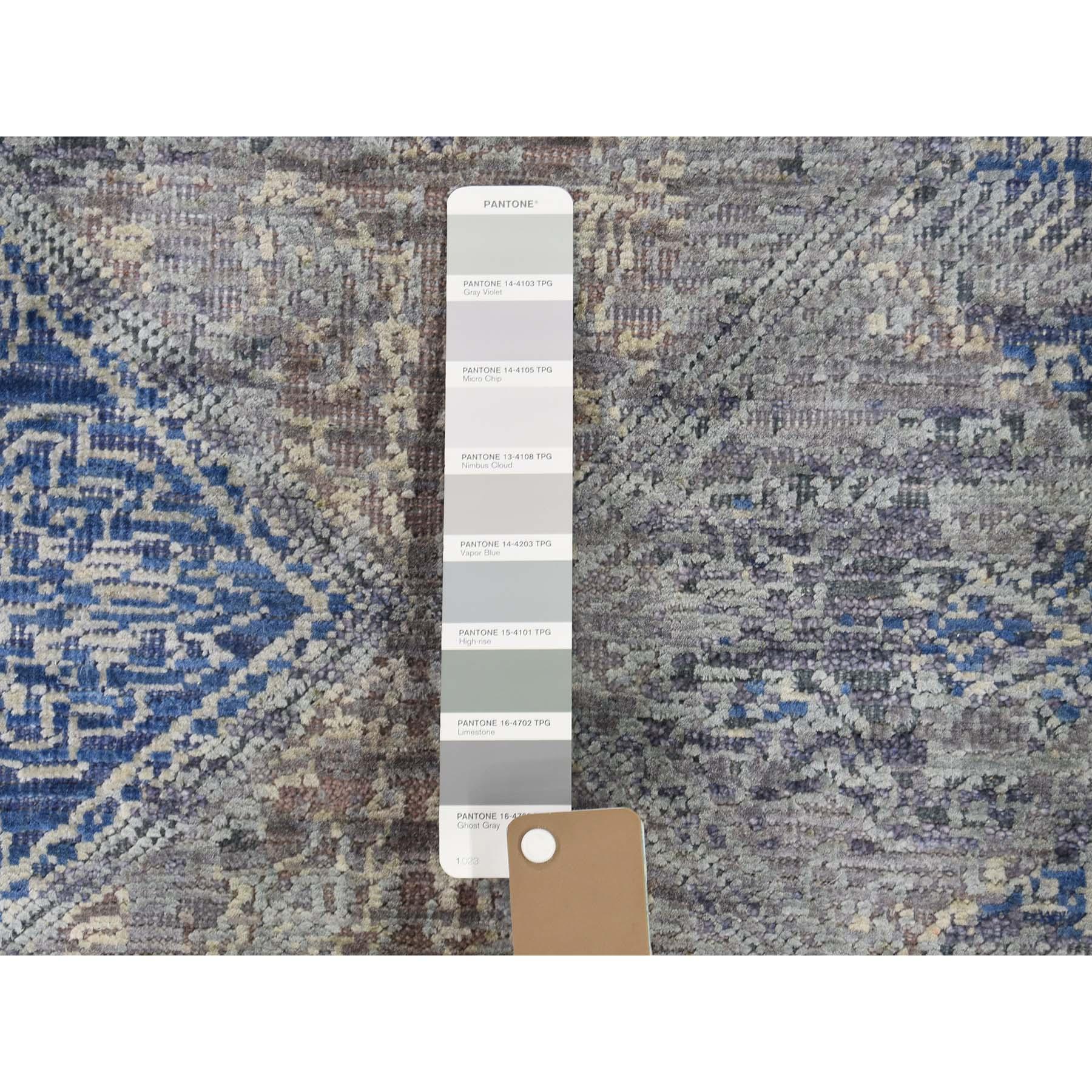 8'x10' Silk With Textured Wool Denim Blue Erased Rossette Design Hand-Knotted Oriental Rug