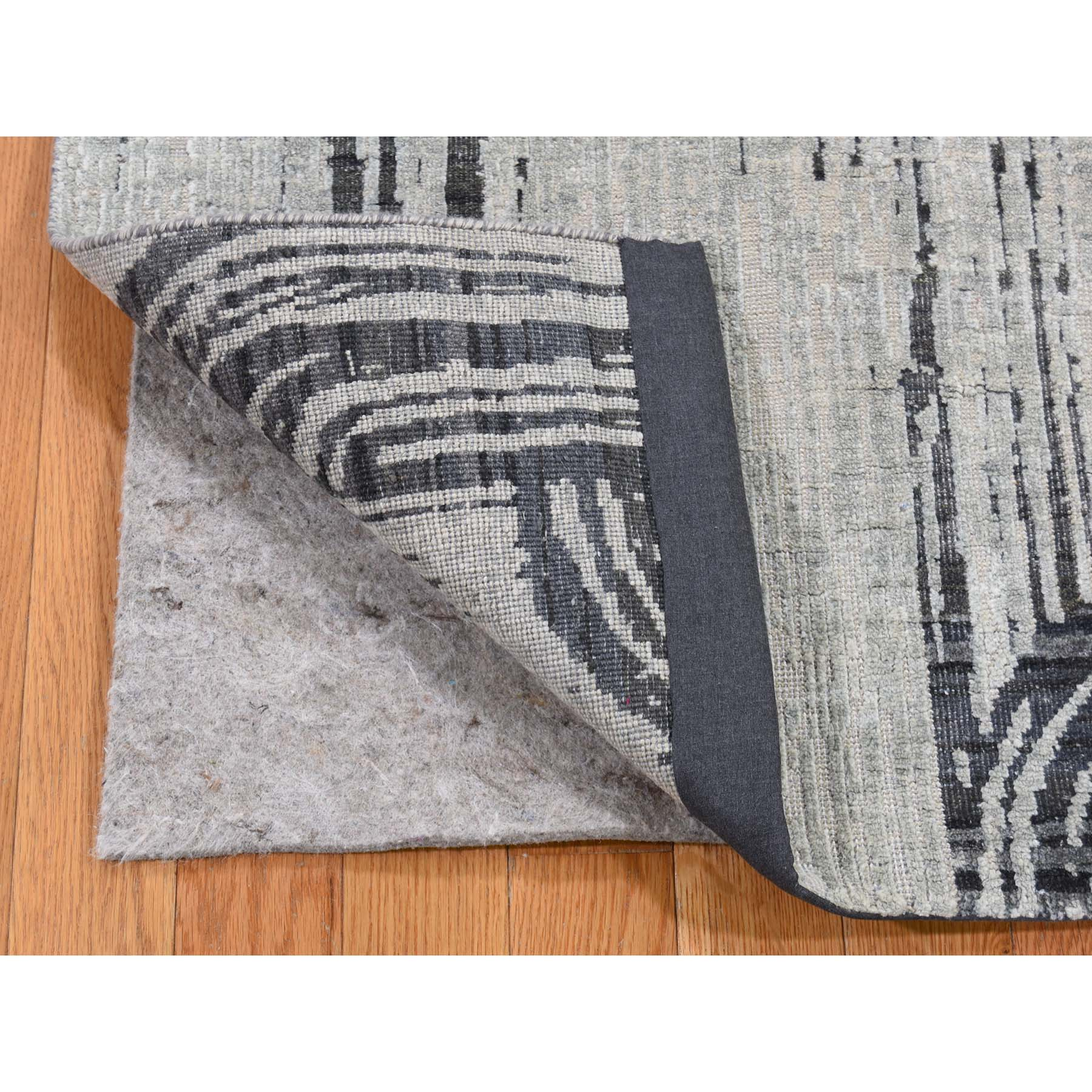 2-7 x8- THE CANE Pure Silk With Textured Wool  Hand-Knotted Runner Oriental Rug