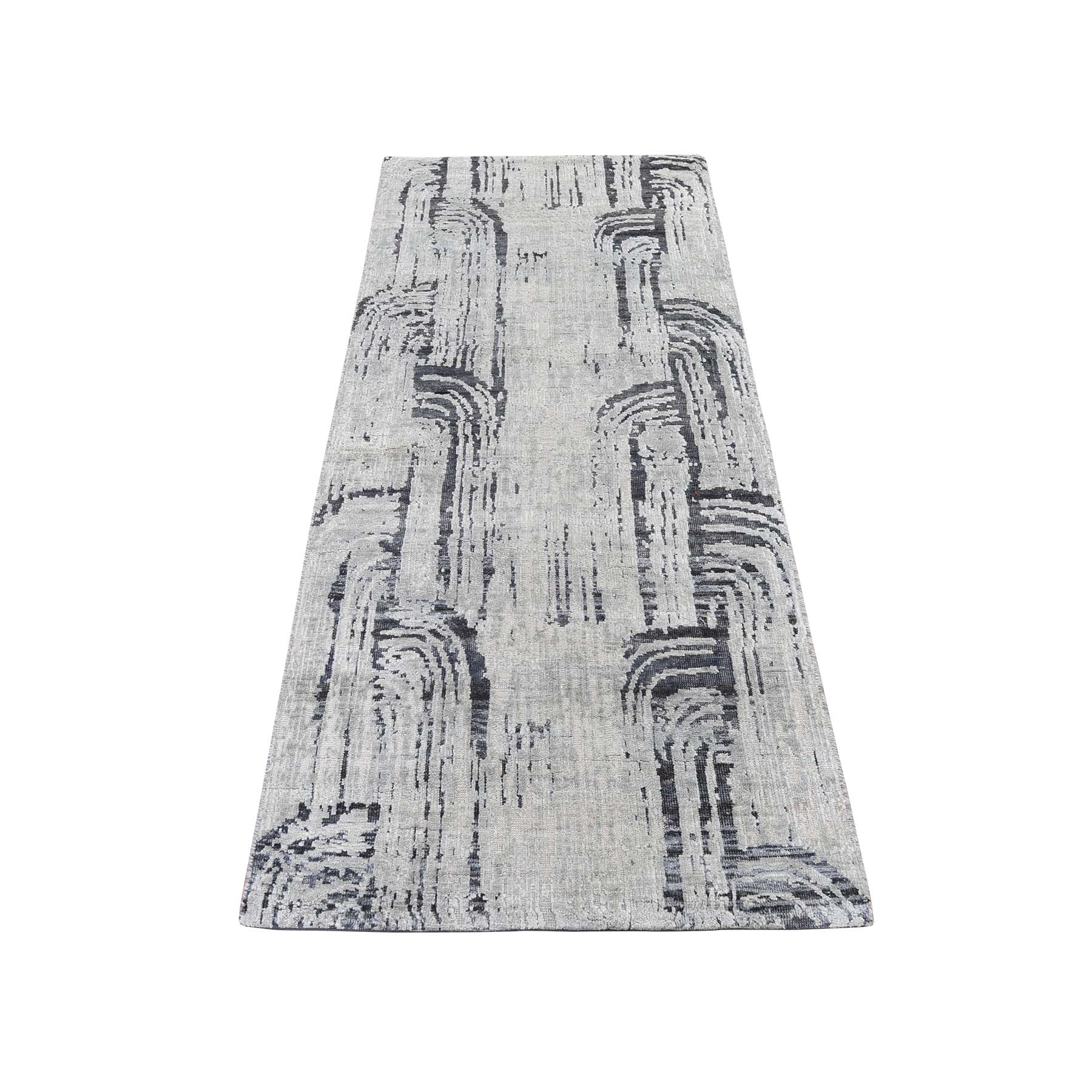 "2'6""X5'10"" The Cane Pure Silk With Oxidized Wool  Hand-Knotted Runner Oriental Rug moaddbe0"