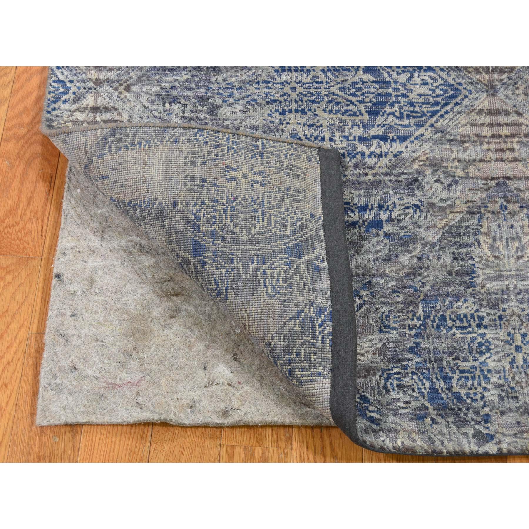 4-x6-2  Silk With Textured Wool Denim Blue Erased Rosette Design Hand-Knotted Oriental Rug