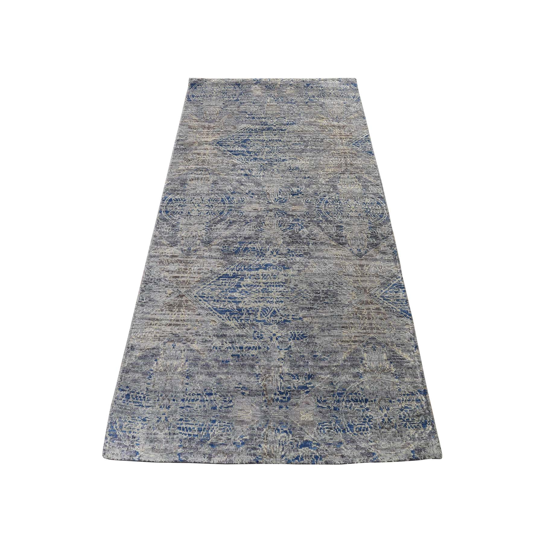 "2'6""X6' Silk With Oxidized Wool Denim Blue Erased Rossette Design Hand-Knotted Oriental Rug moaddbed"
