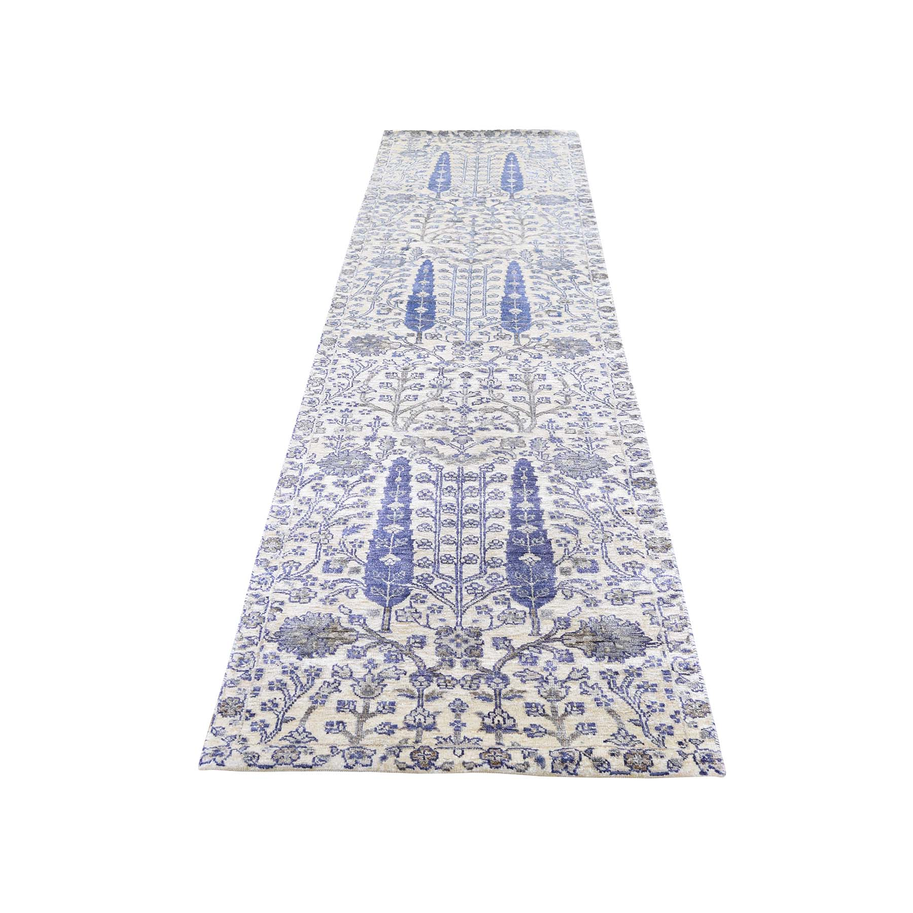 "2'7""X10'1"" Willow And Cypress Tree Design Silk With Oxidized Wool Hand-Knotted Runner Oriental Rug moaddb6b"