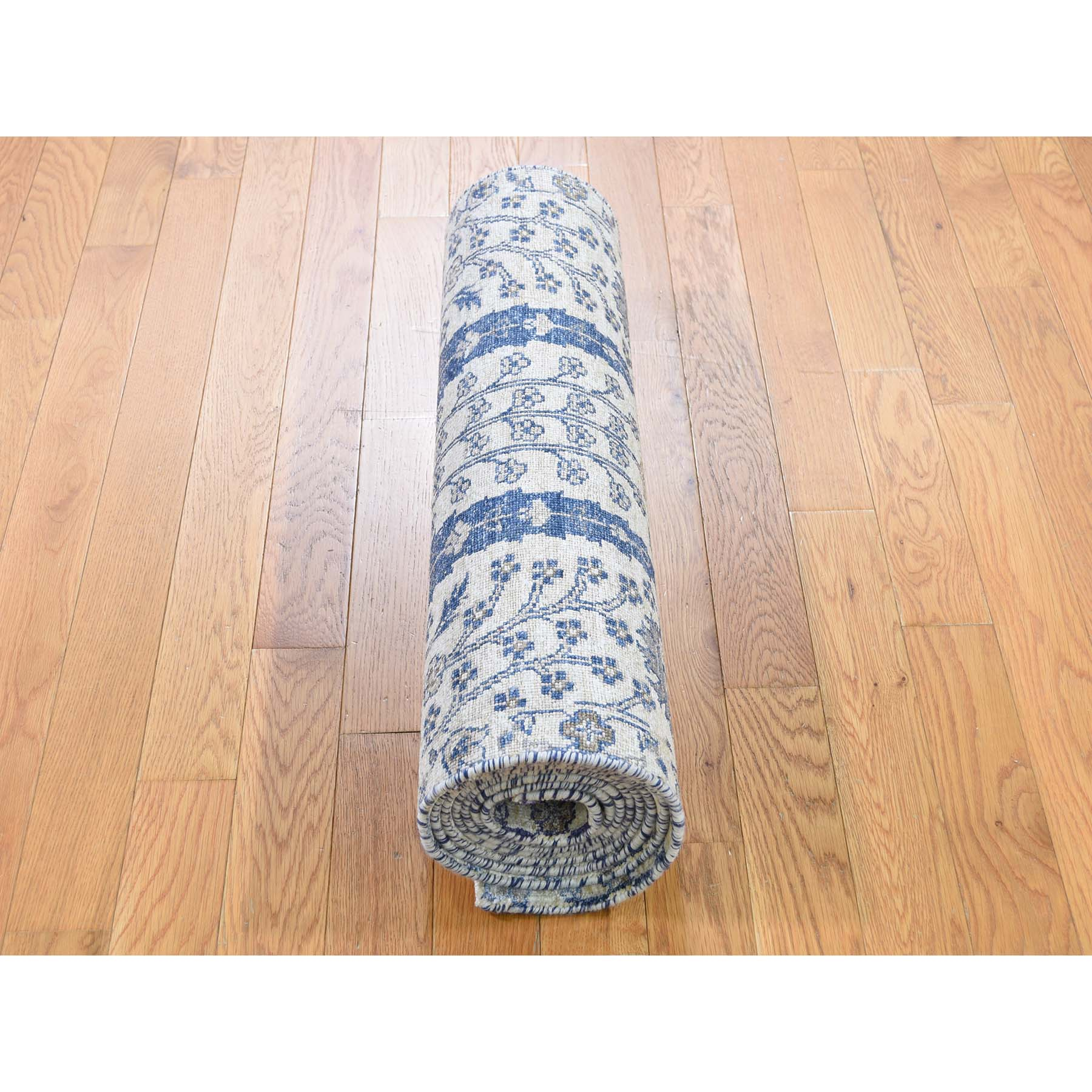 """2'7""""x10'1"""" Willow And Cypress Tree Design Silk With Textured Wool Hand-Knotted Runner Oriental Rug"""