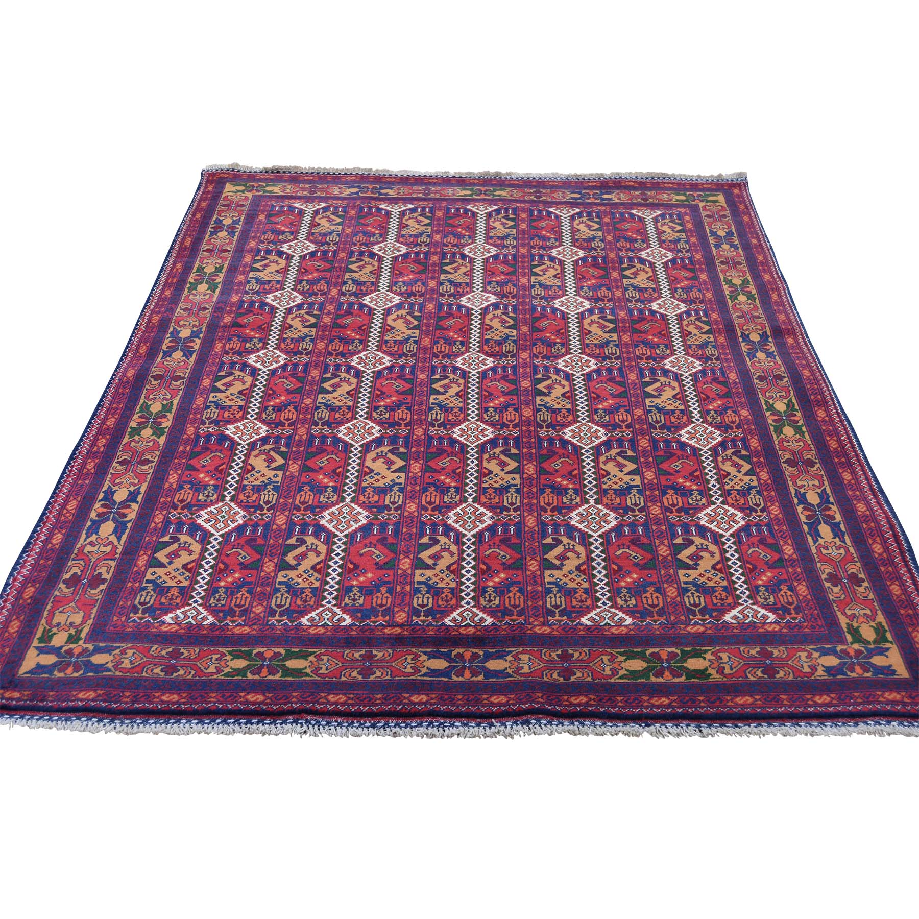 "4'8""X6'6"" Vegetable Dyes Afghan Khamyab Hand Knotted Pure Wool Rug moaddcb0"