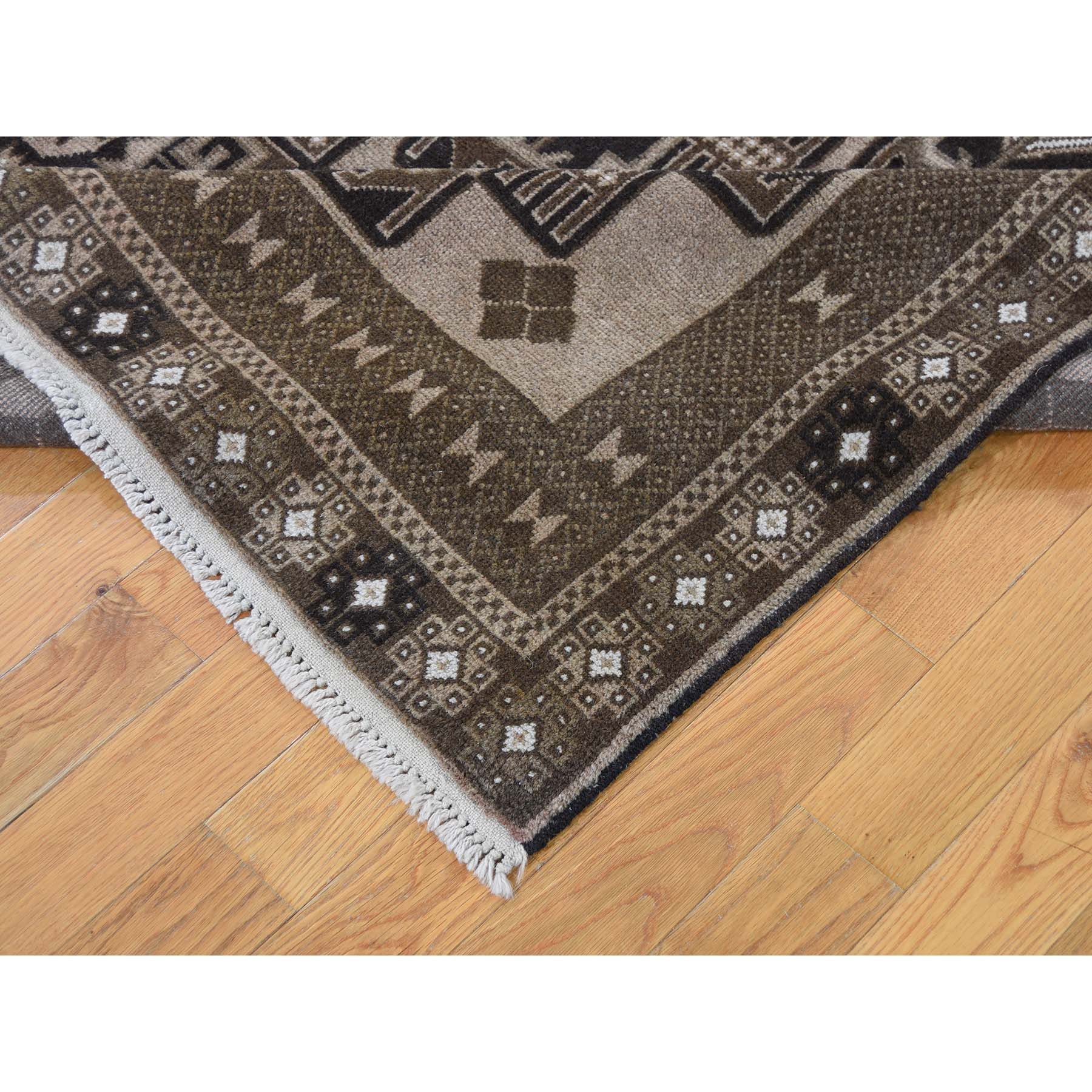 6-7 x8-10  Vintage Afghan Baluch Natural Color Hand-Knotted Pure Wool Oriental Rug