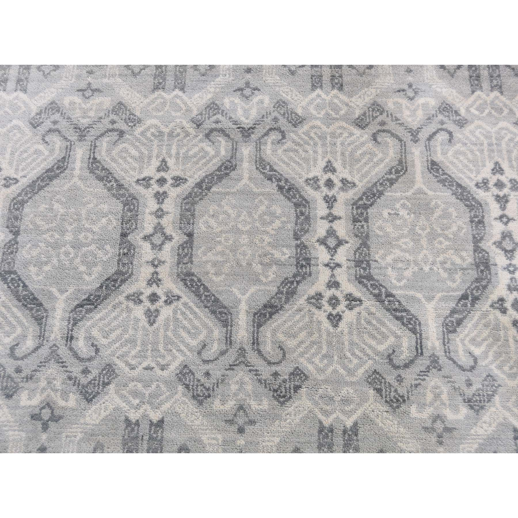 8-1 x9-3  Ikat Silver Wash Tribal Design Pure Wool Hand-Knotted Oriental Rug