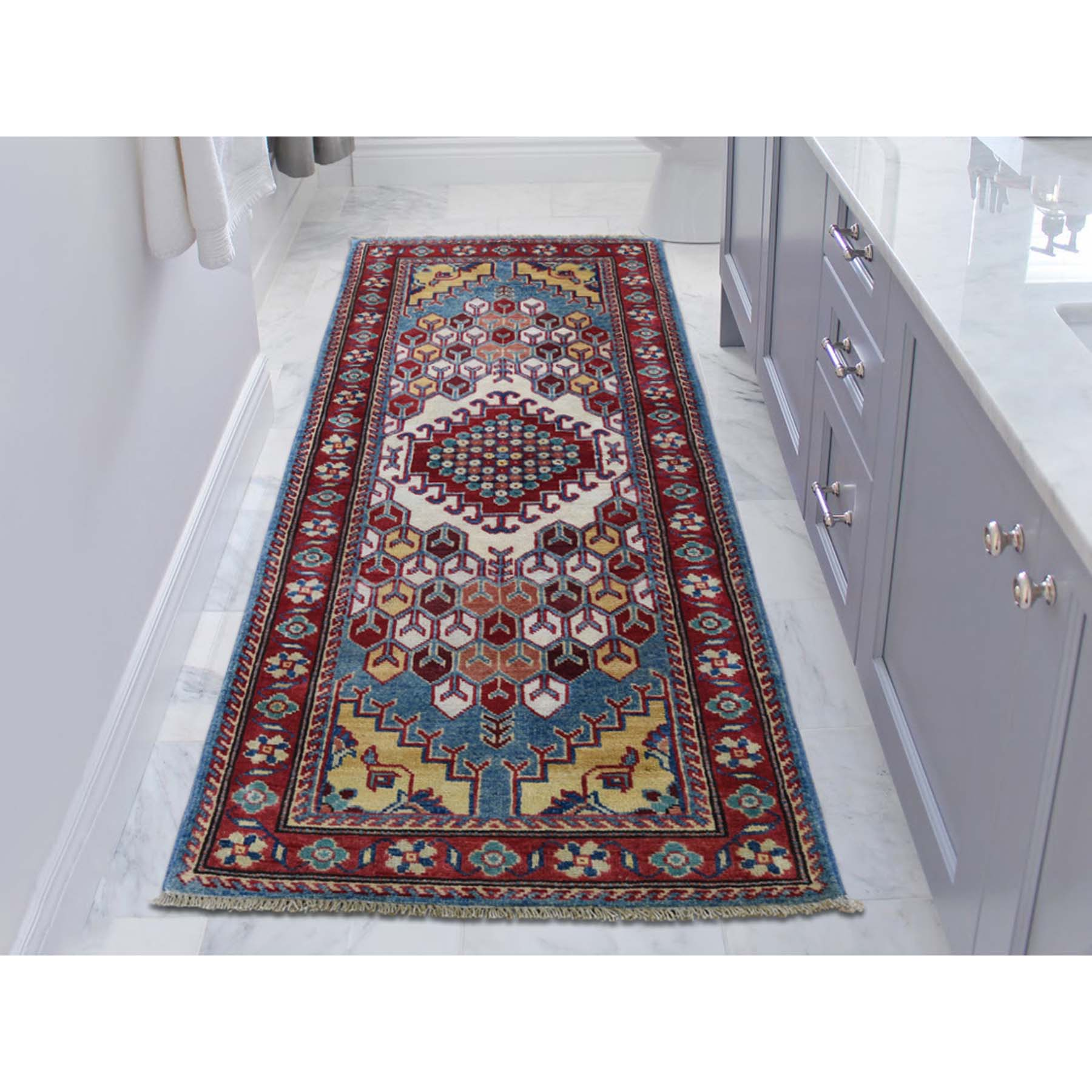 2-8 x5-8  Special Kazak Pure Wool Runner Hand-Knotted Geometric Design Oriental Rug