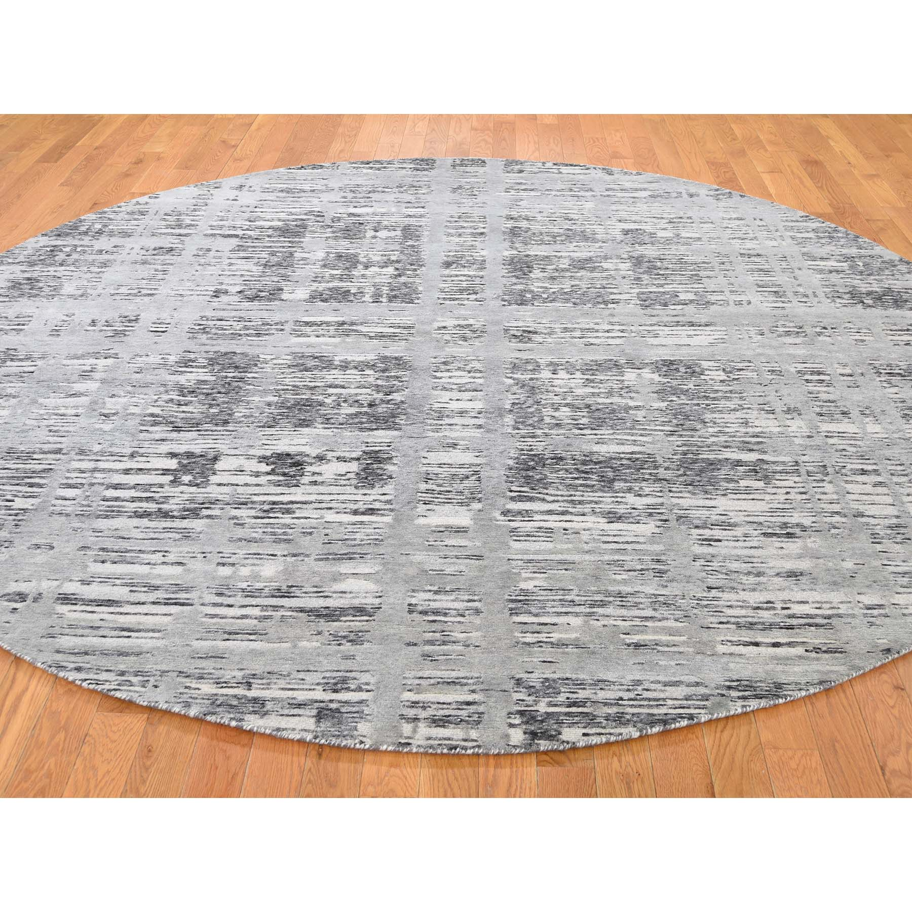 10-x10- Undyed Natural Wool Hand Spun Yarn Oriental Hand-Knotted Rug