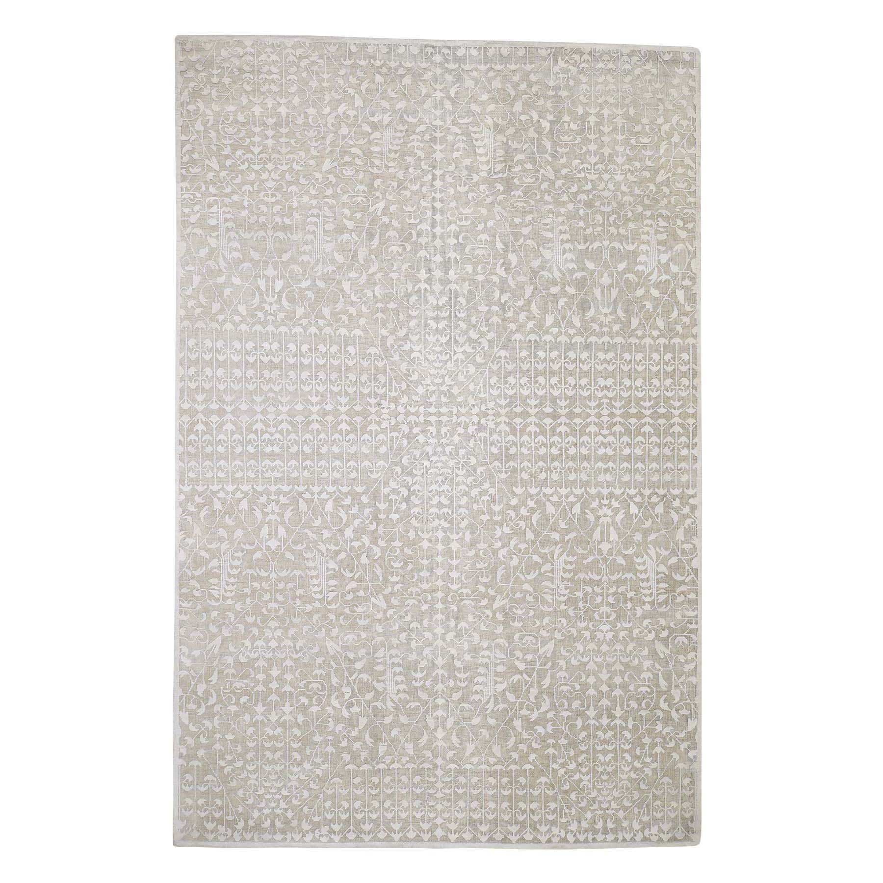 "6'1""X9'4"" Hand-Knotted Tone On Tone Pure Silk With Oxidized Wool Oriental Rug moaddc9e"