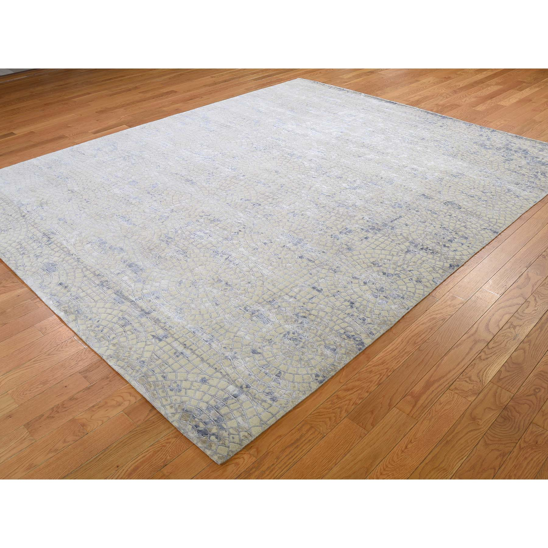 8-x9-8  Wool And Silk Mosaic Design Hand Knotted Oriental Rug