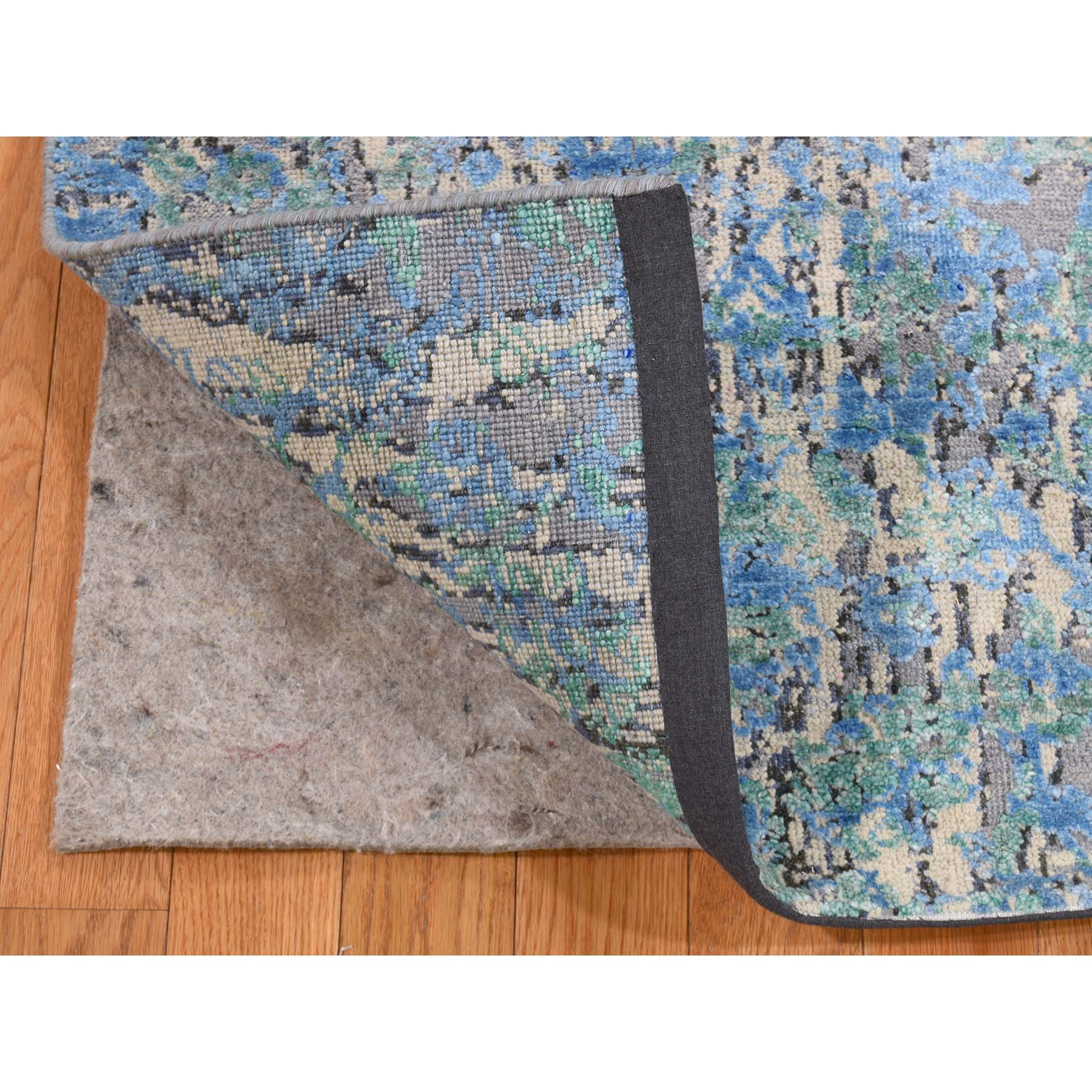 2-x3-1  THE WATER LILIES Silk With Textured Wool Hand-Knotted Oriental Rug