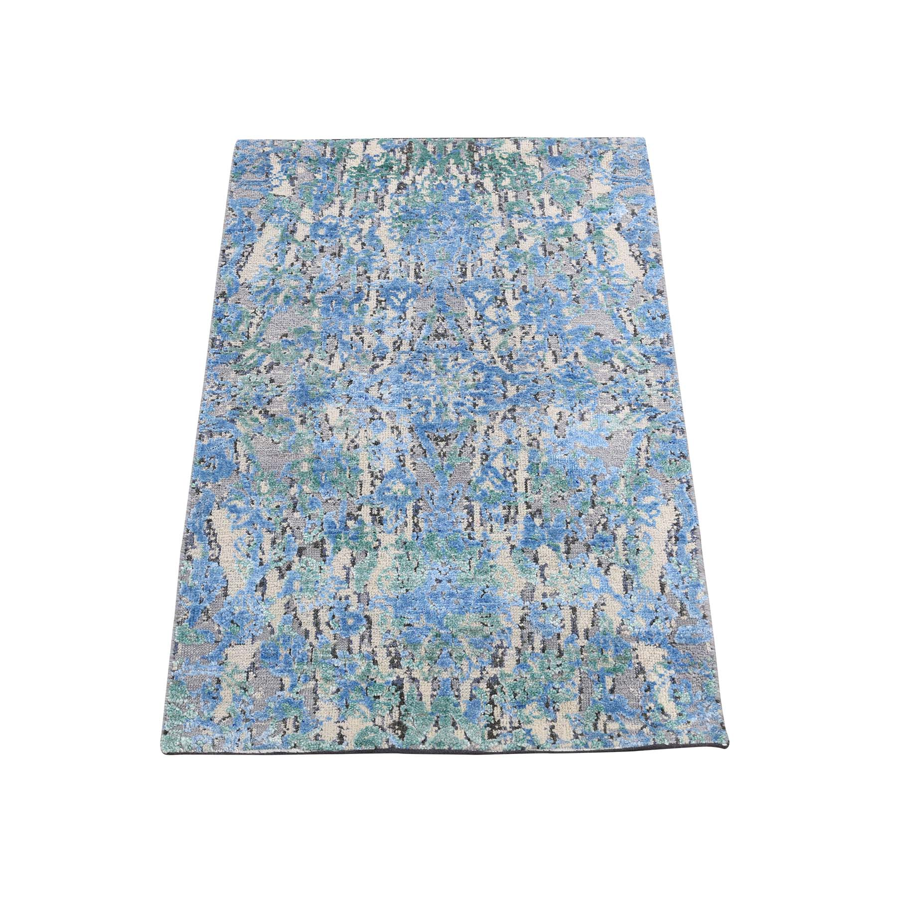 "2'X3'1"" The Water Lilies Silk With Oxidized Wool Hand-Knotted Oriental Rug moadddda"