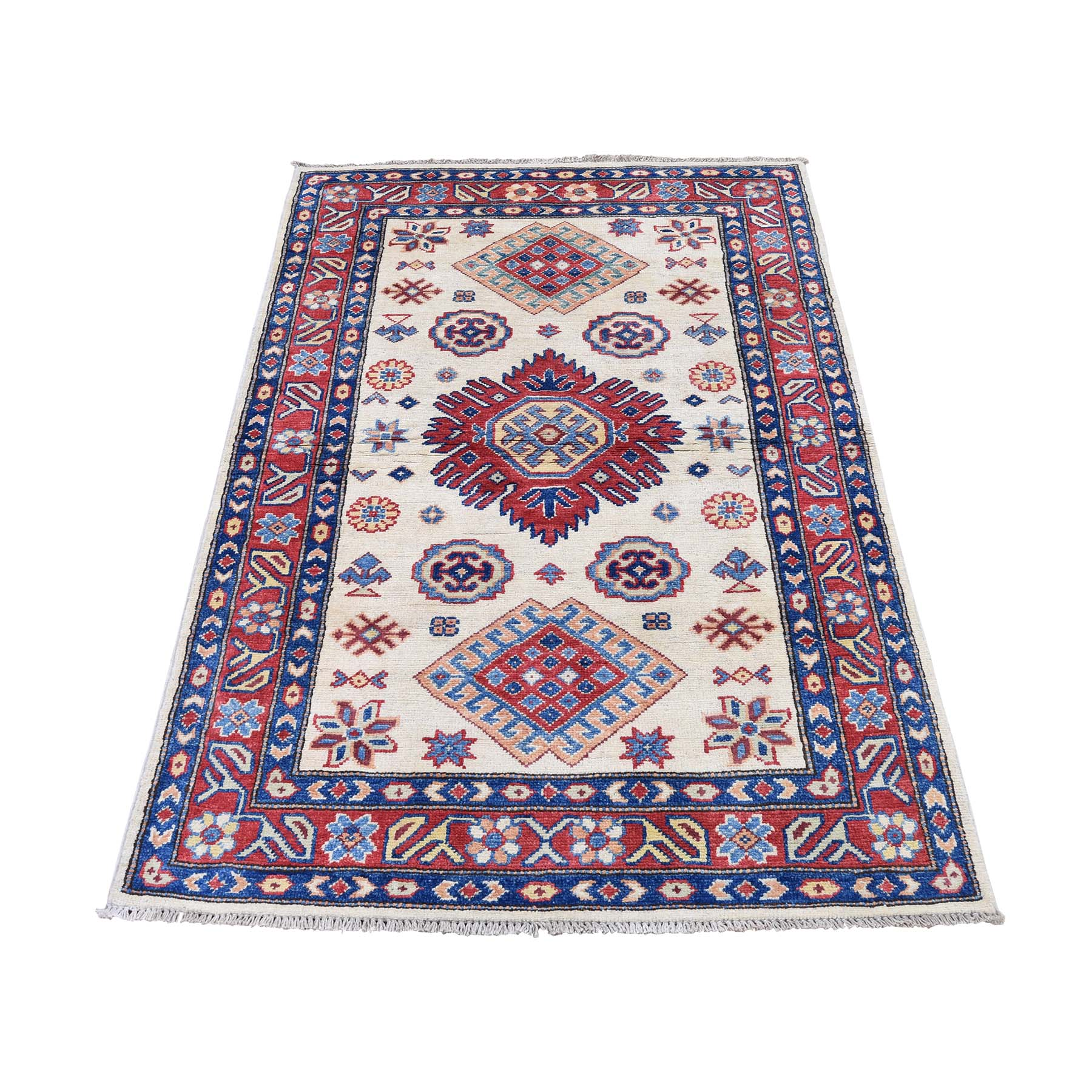 "3'X4'7"" Special Kazak Pure Wool Hand-Knotted Geometric Design Oriental Rug moadddea"