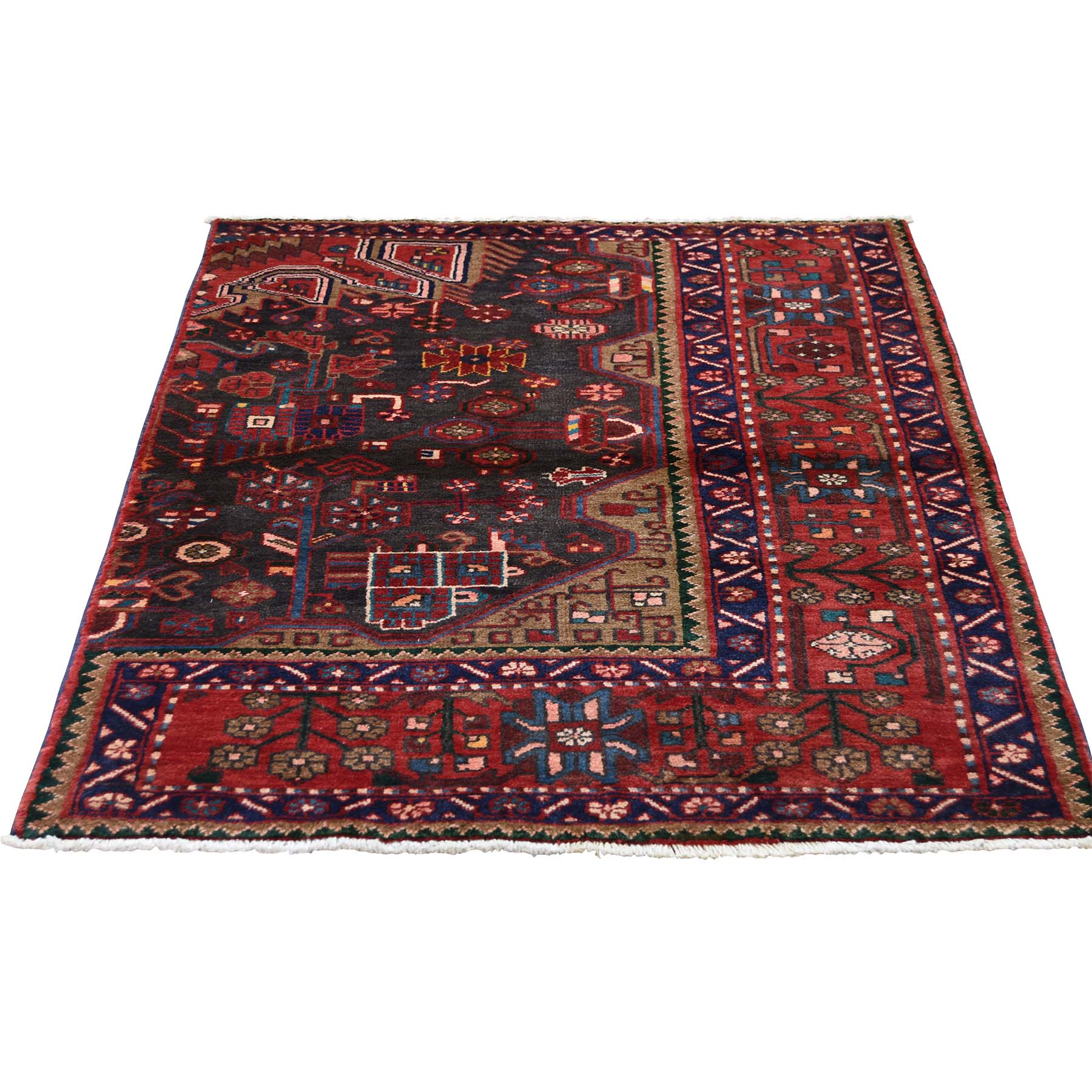 "3'6""X4'10"" Vintage Persian Nahavand Sampler Pure Wool Hand-Knotted Oriental Rug moadddee"