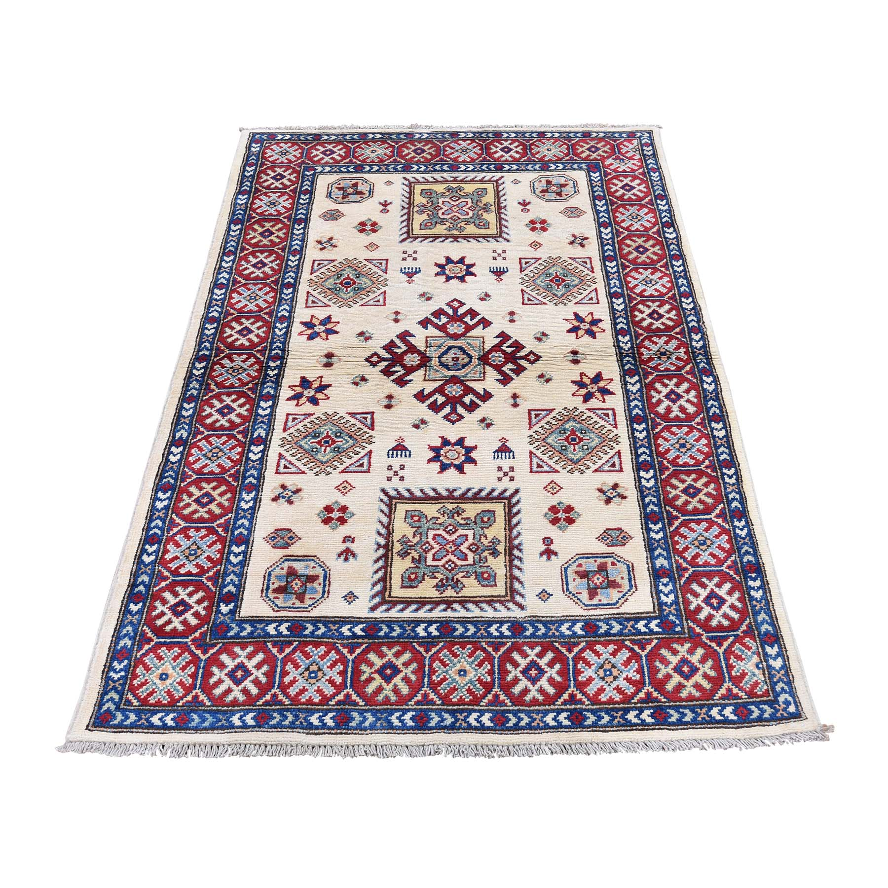 "3'X4'10"" Special Kazak Pure Wool Hand-Knotted Geometric Design Oriental Rug moaddde7"