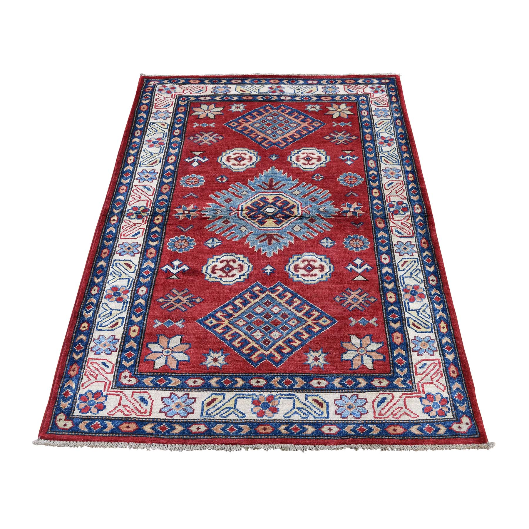 "3'X4'9"" Special Kazak Pure Wool Hand-Knotted Geometric Design Oriental Rug moaddd6a"