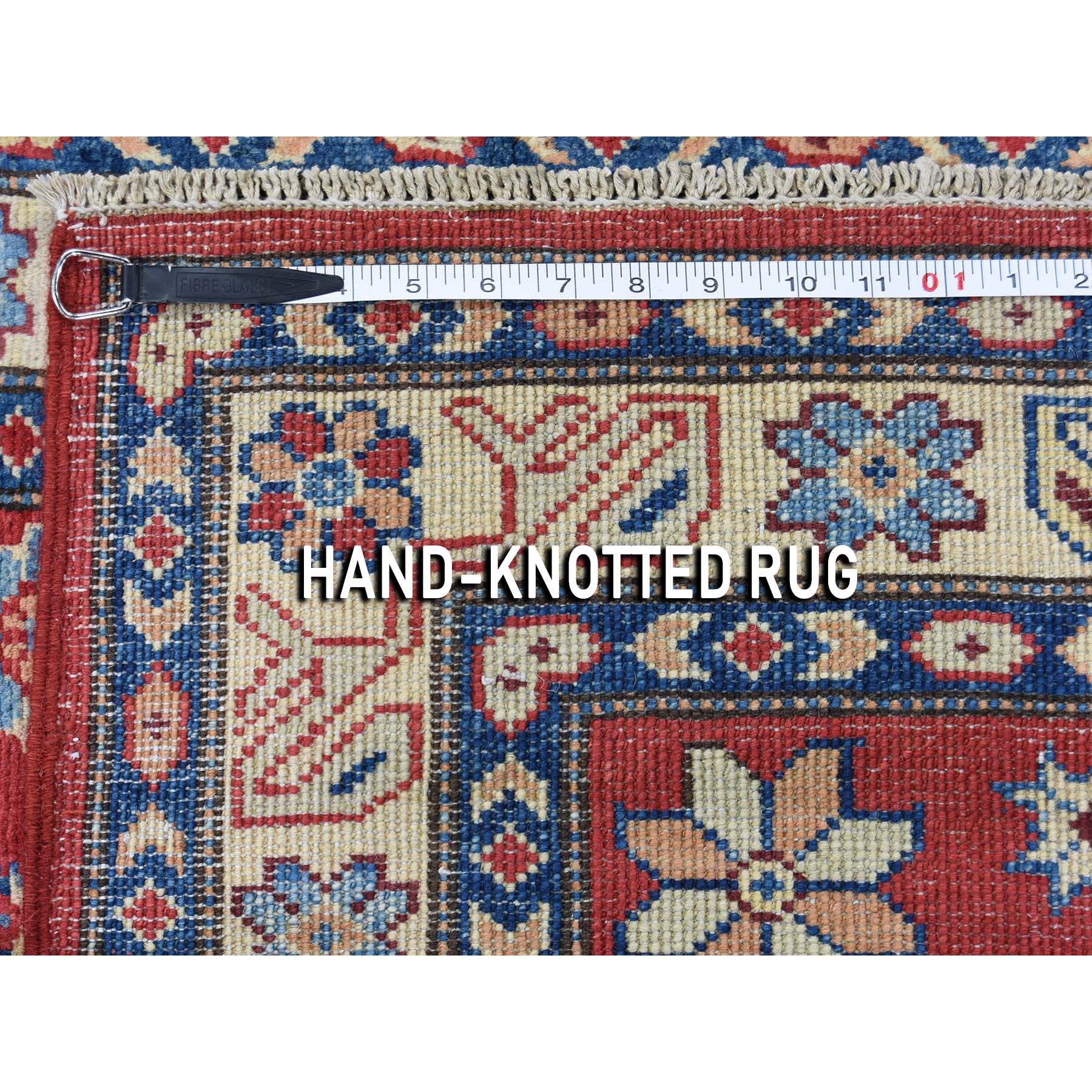 3-x4-9  Special Kazak Pure Wool Hand-Knotted Geometric Design Oriental Rug