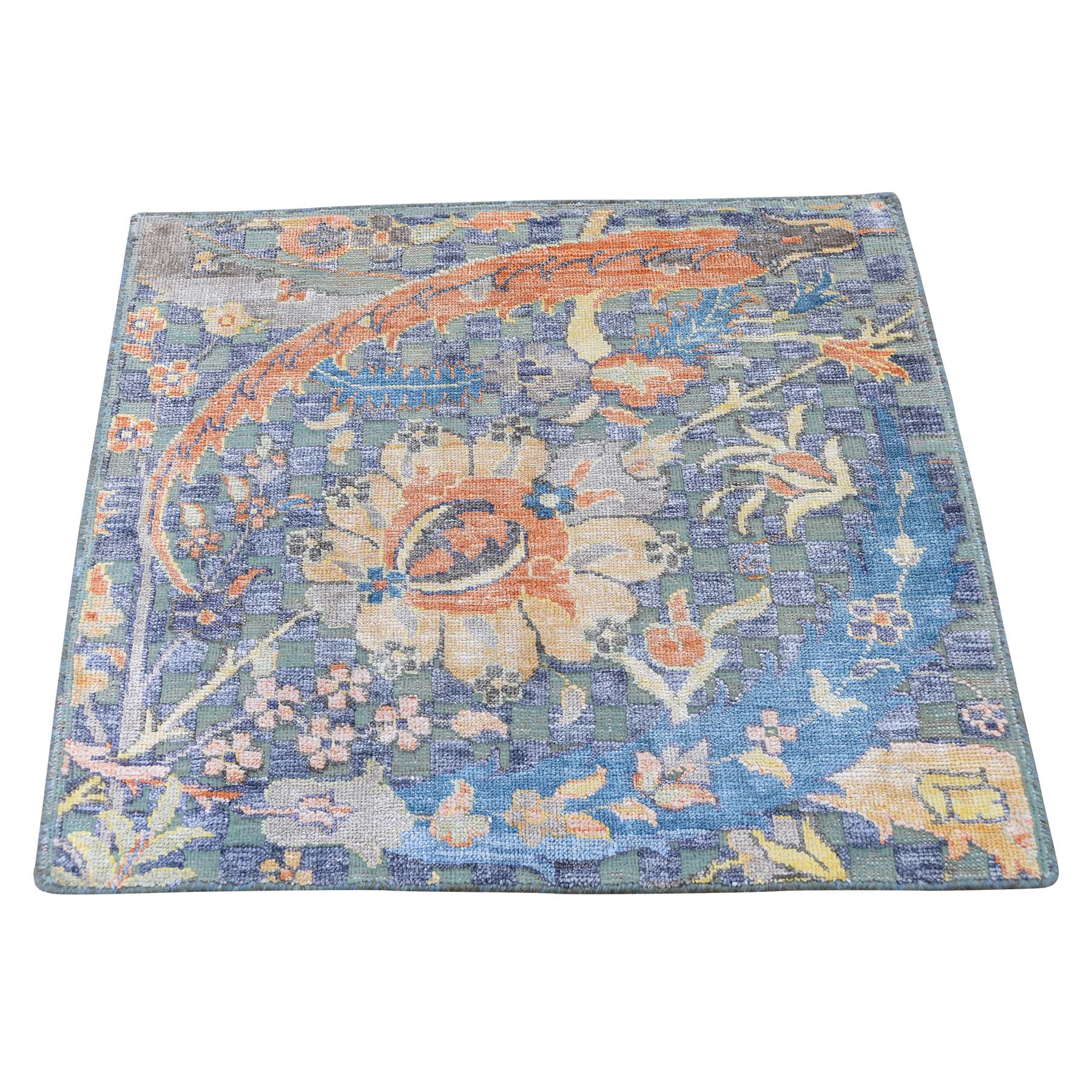 "2'2""x2'2"" Sickle Leaf Design Square Silk With Textured Wool Hand-Knotted Oriental Rug"