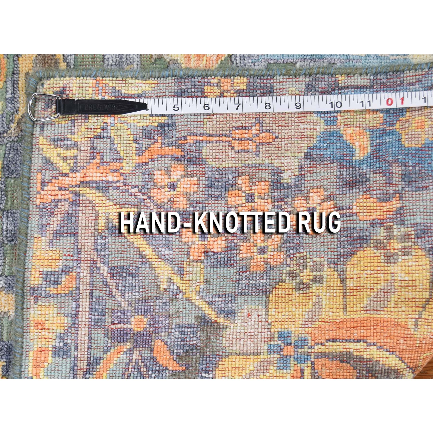 """2'2""""x2'2"""" Sickle Leaf Design Square Silk With Textured Wool Hand-Knotted Oriental Rug"""