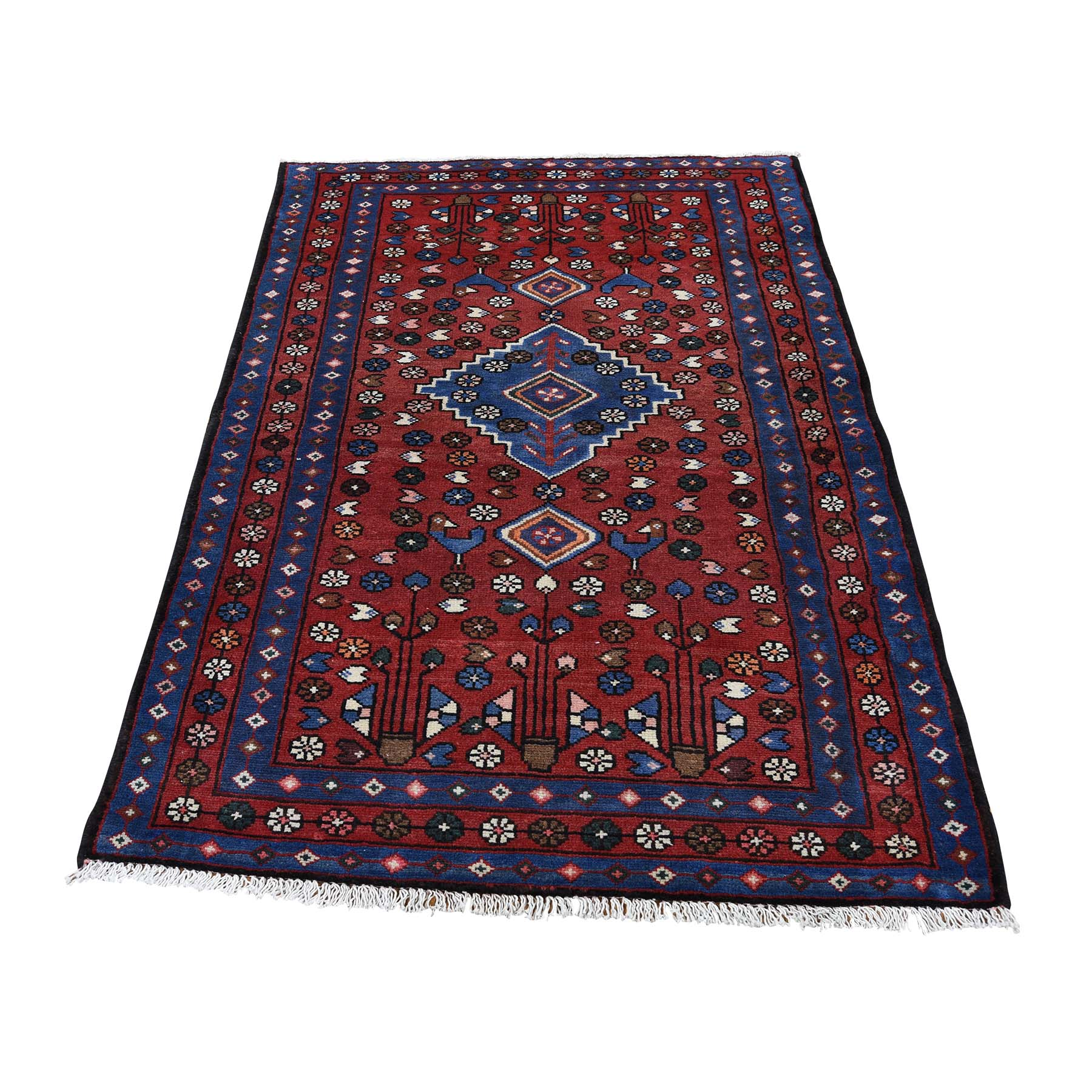 "3'5""X5' Vintage Persian Hamadan Pure Wool Hand-Knotted Oriental Rug moaddd80"