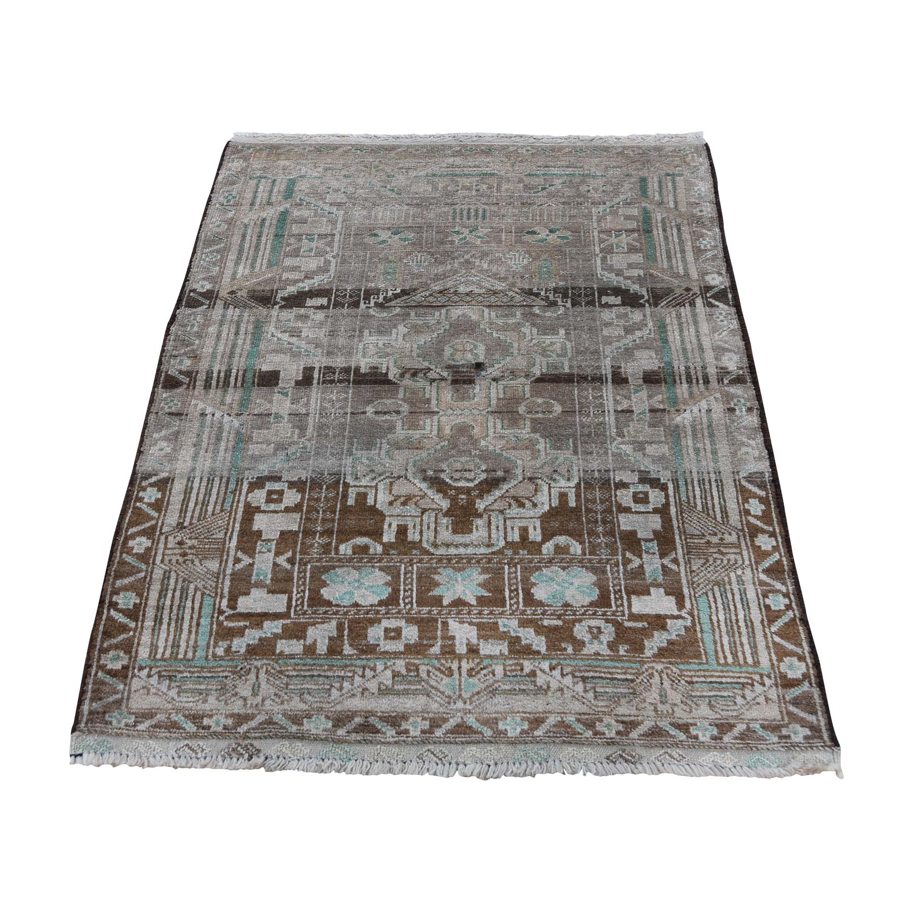 "2'9""X3'9"" Vintage Afghan Baluch Natural Colors Hand-Knotted Pure Wool Oriental Rug moaddd9b"
