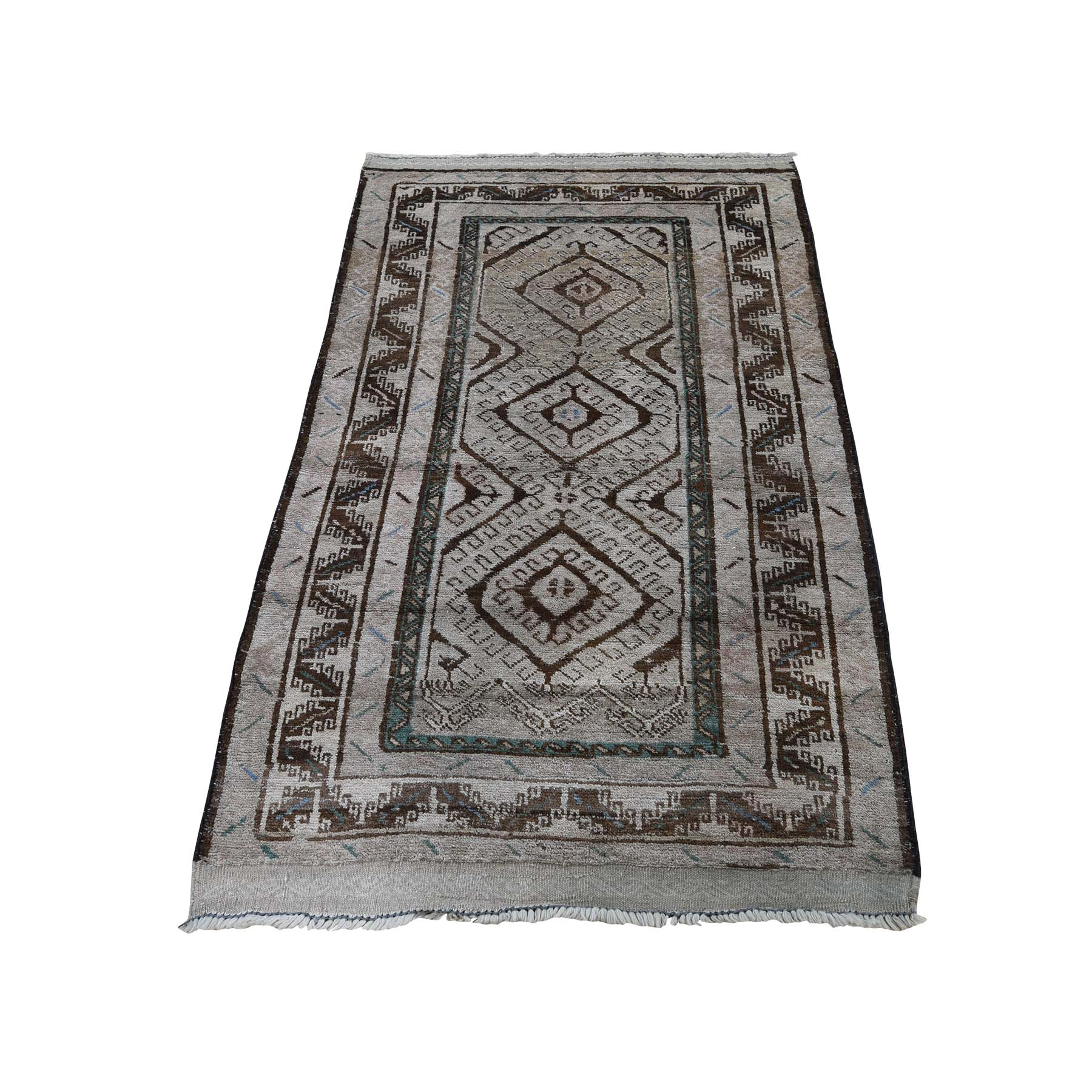 "2'8""X4'4"" Vintage Afghan Baluch Natural Colors Hand-Knotted Pure Wool Oriental Rug moaddd9c"