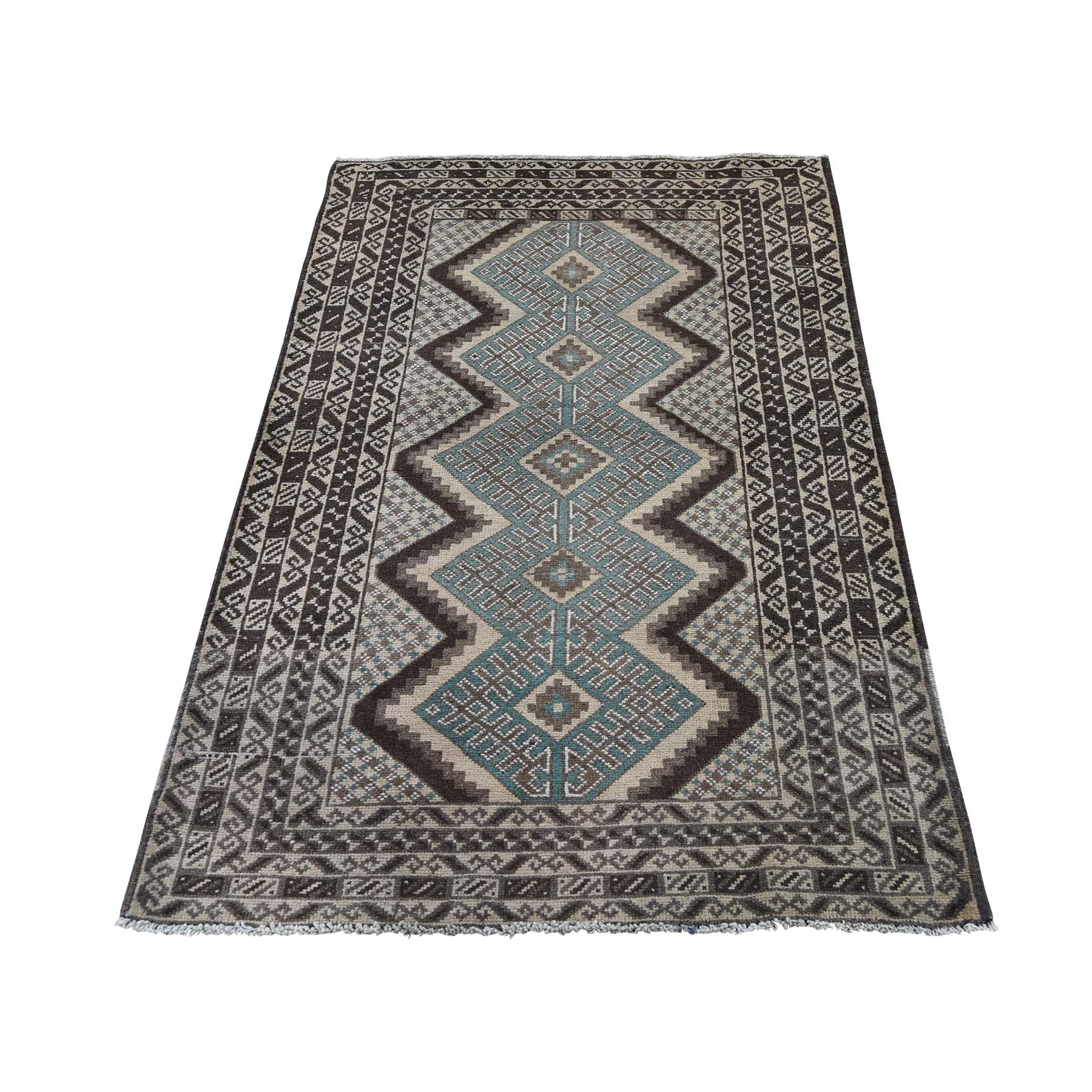 "2'9""X4'5"" Vintage Afghan Baluch Natural Colors Hand-Knotted Pure Wool Oriental Rug moaddd97"