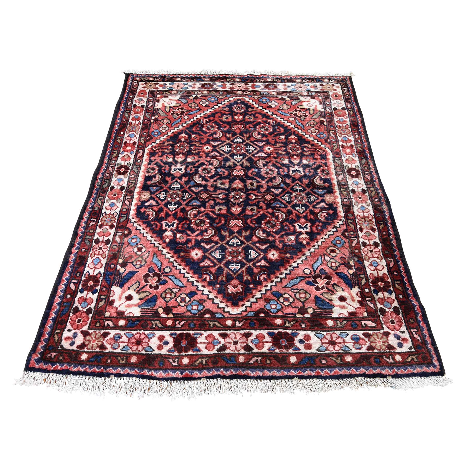 "3'7""X5'2"" Vintage Persian Lilahan Pure Wool Hand-Knotted Oriental Rug moadde67"