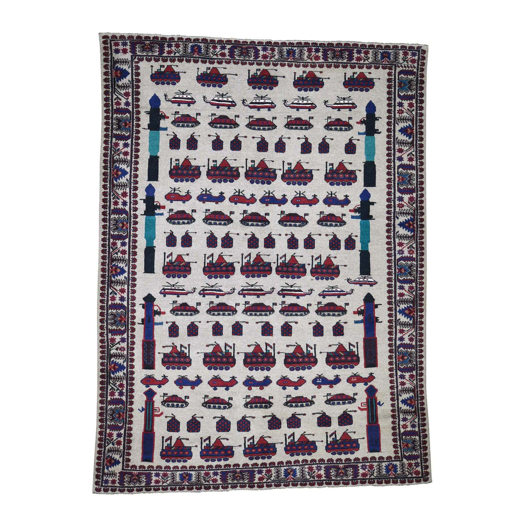 """6'9""""X9"""" Afghan Baluch War Tanks Grenades Pure Wool Hand-Knotted Oriental Rug moadde7d"""