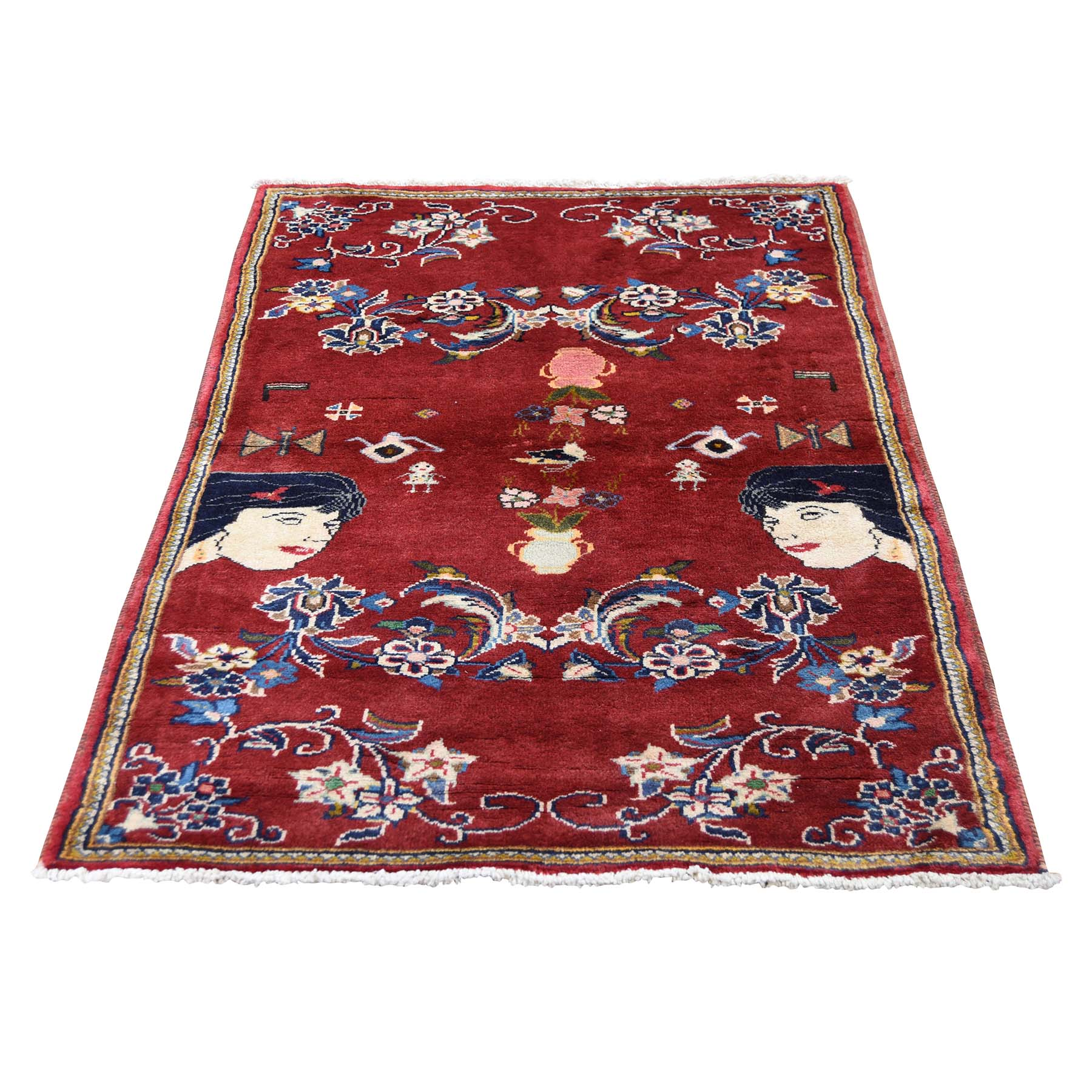 "3'X4'9"" Persian Ardabil With Ladies Head Pure Wool Hand-Knotted Oriental Rug moadde87"