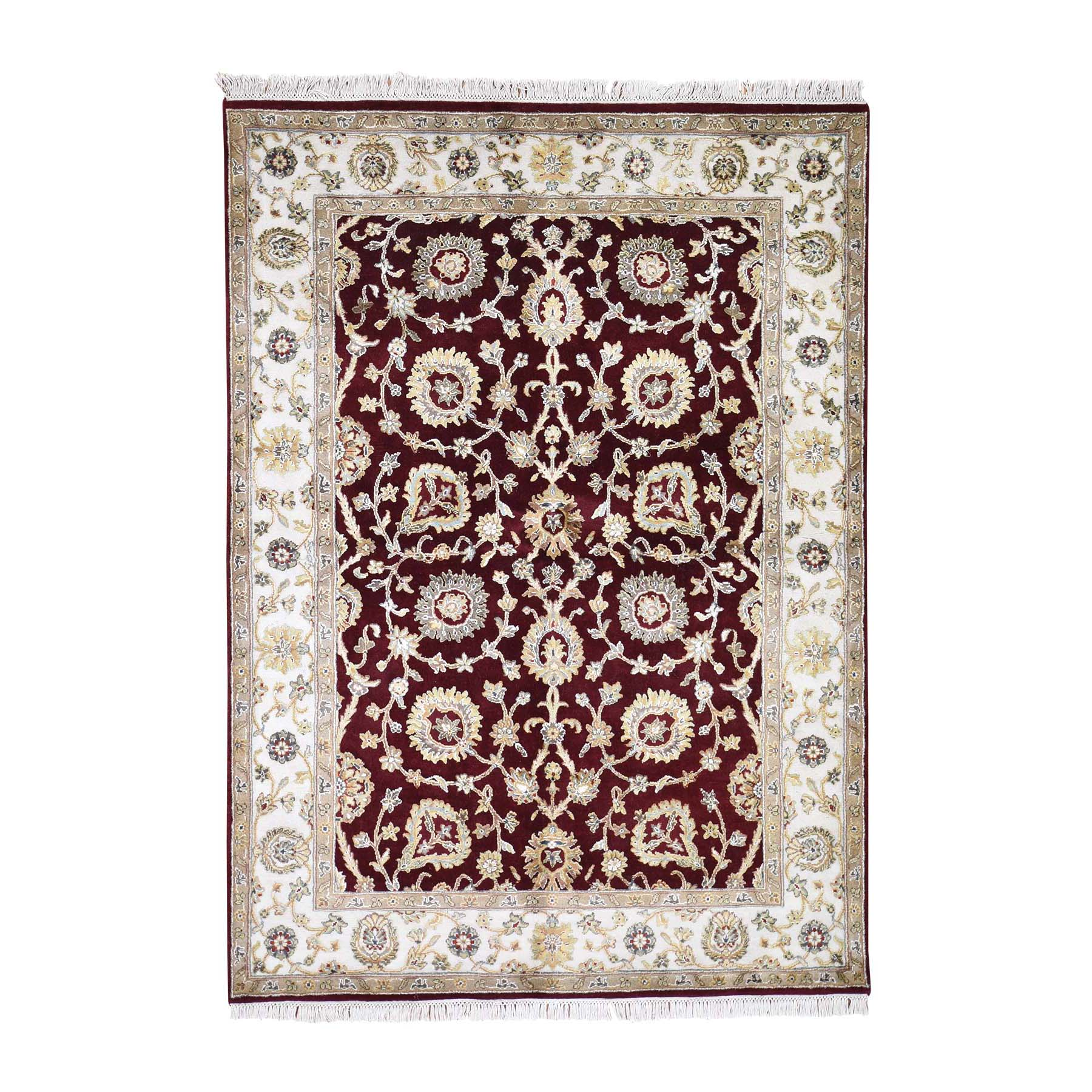 "5'1""X7'1"" Rajasthan Half Wool And Half Silk Hand-Knotted Oriental Rug moadd60c"