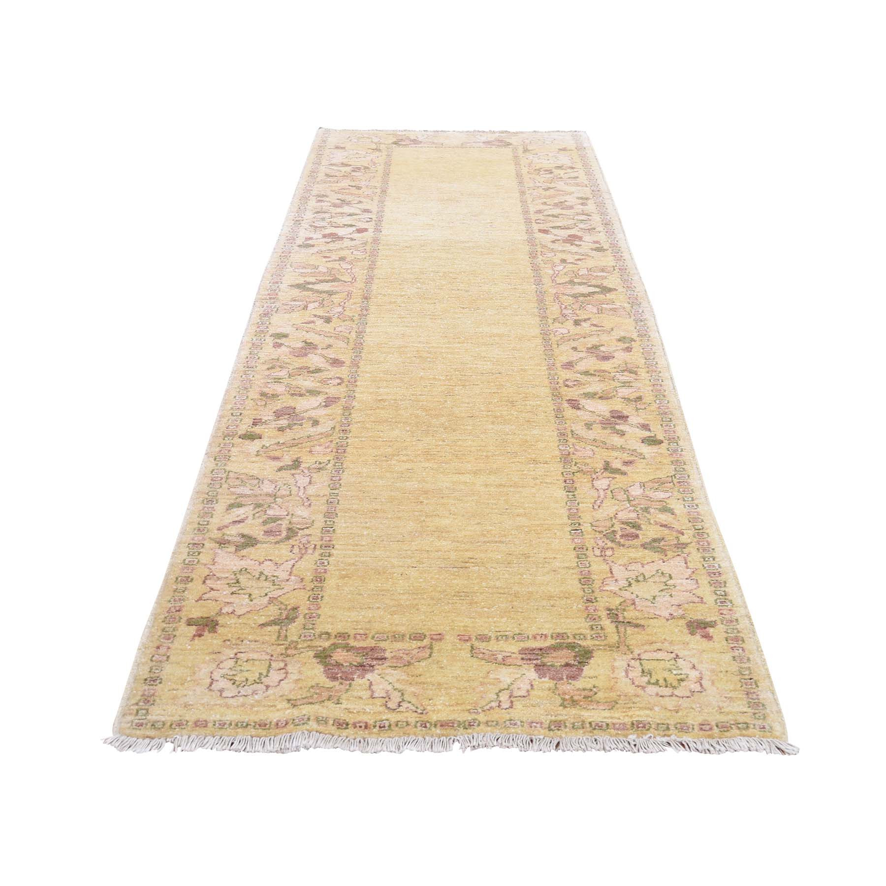 "2'10""X9'8"" Pure Wool Peshawar With Plain Field Hand-Knotted Runner Oriental Rug moadd60d"