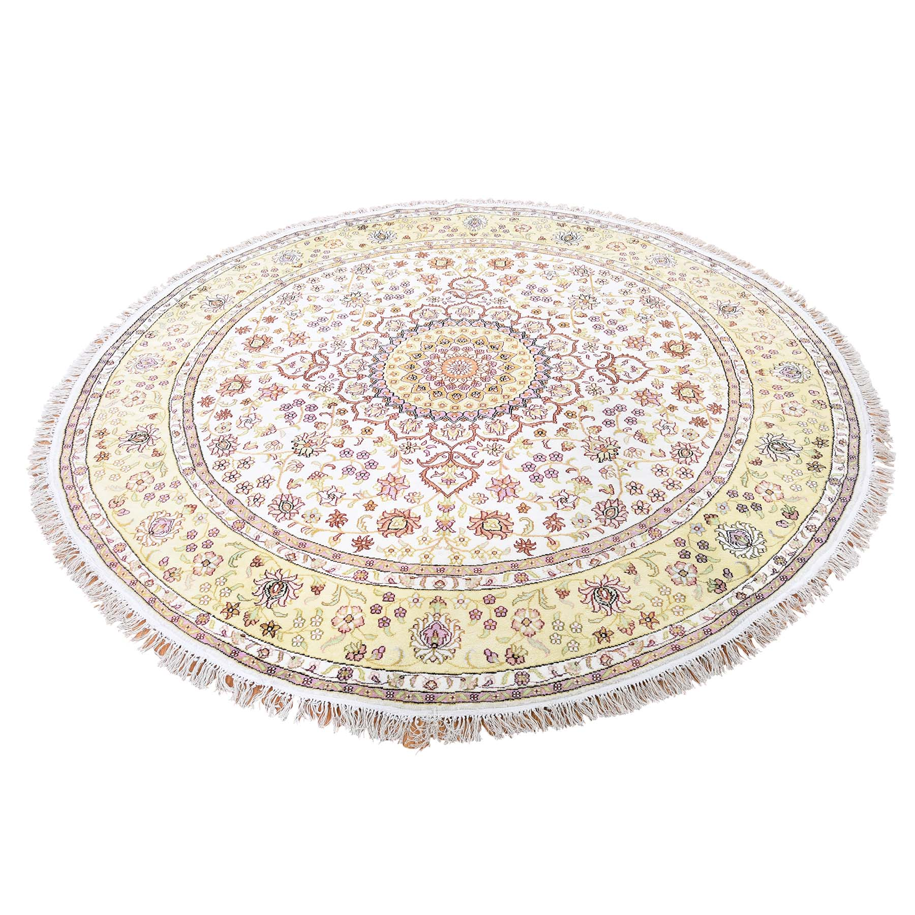 "6'10""X6'10"" Round Silken Kashan 250 Kpsi With Repair Oriental Hand Knotted Rug moadd607"