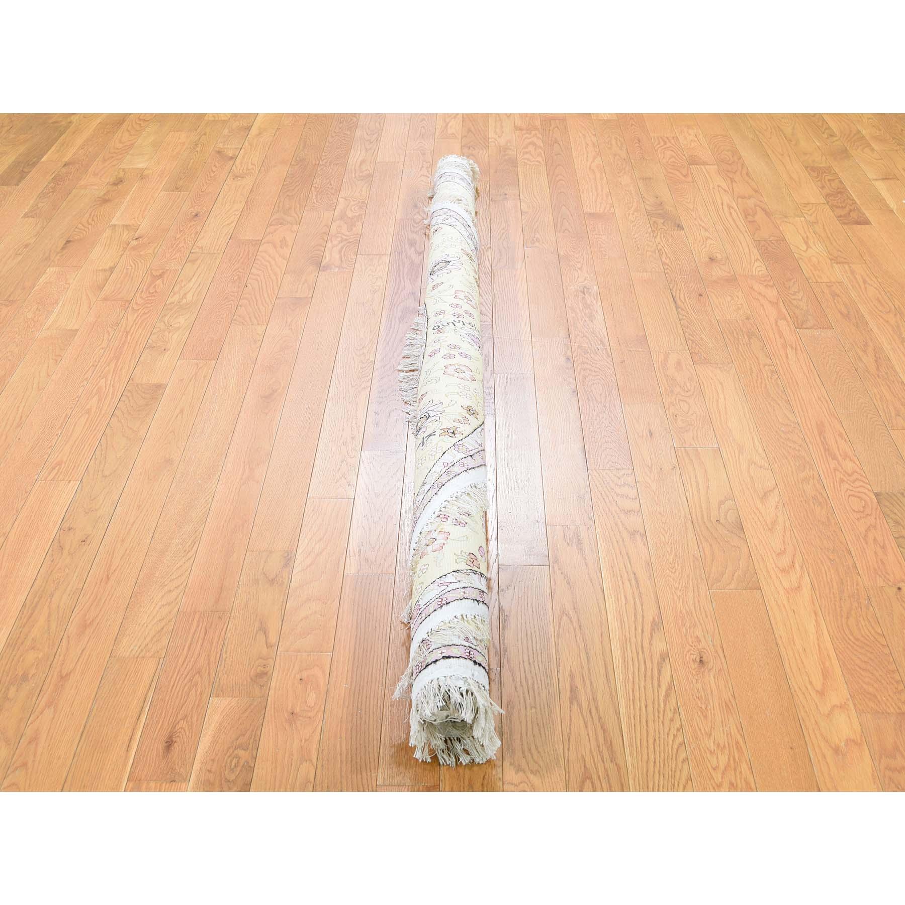 6-10 x6-10  Round Silken Kashan 250 KPSI With Repair Oriental Hand Knotted Rug
