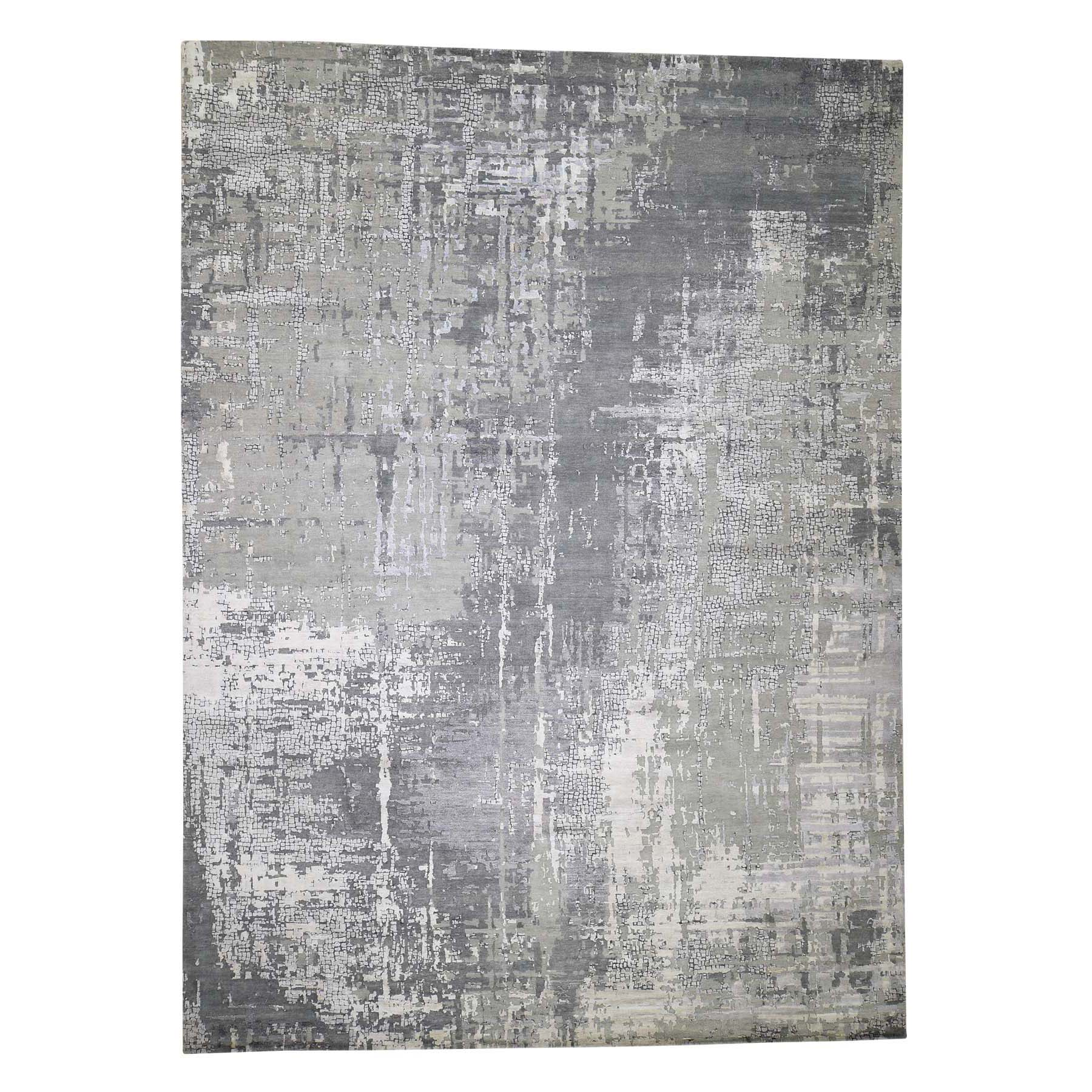 "10'x13'9"" Abstract Wool And Silk With Mosaic Design Hand-Knotted Modern Rug"