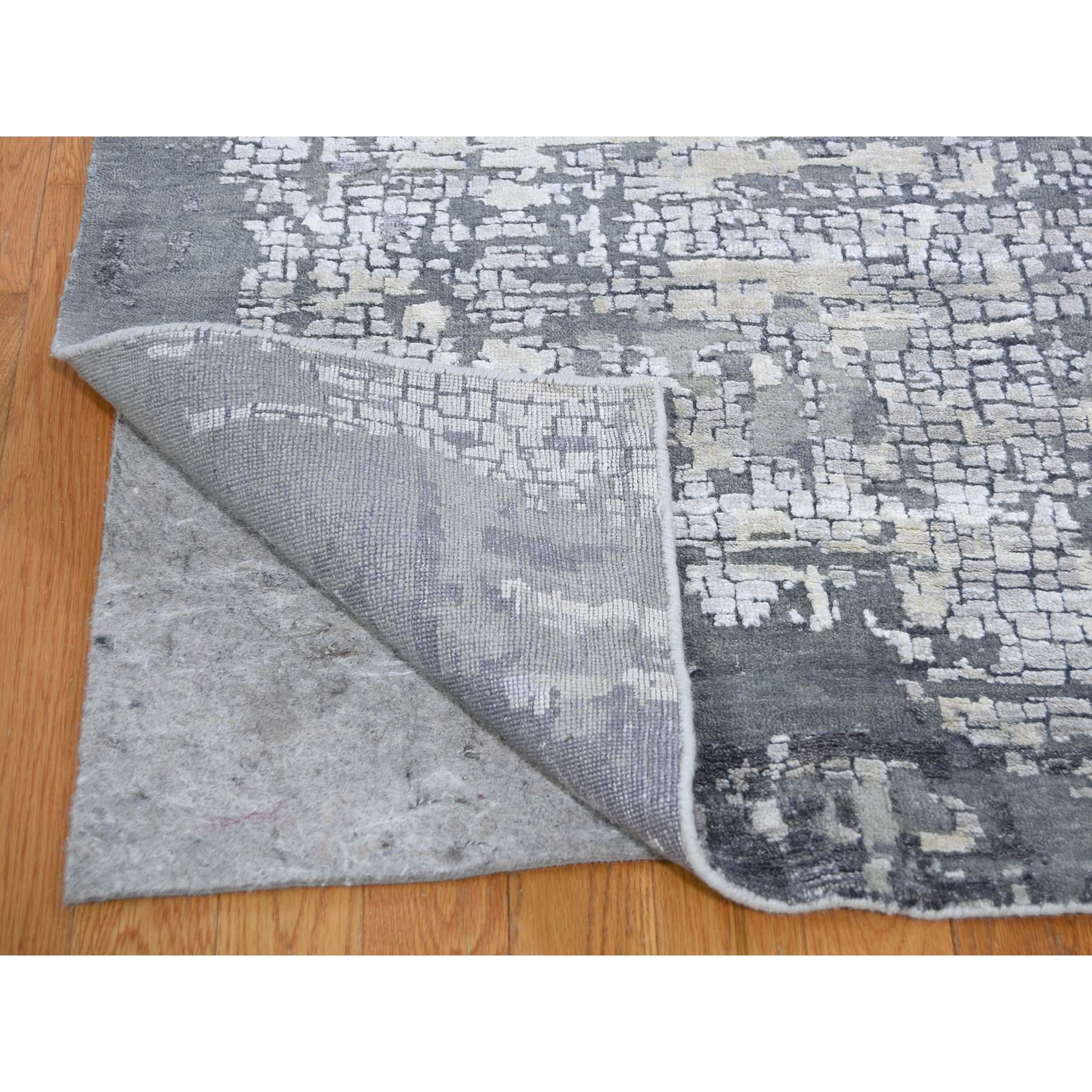 10-x13-9  Abstract Wool And Silk With Mosaic Design Hand-Knotted Modern Rug