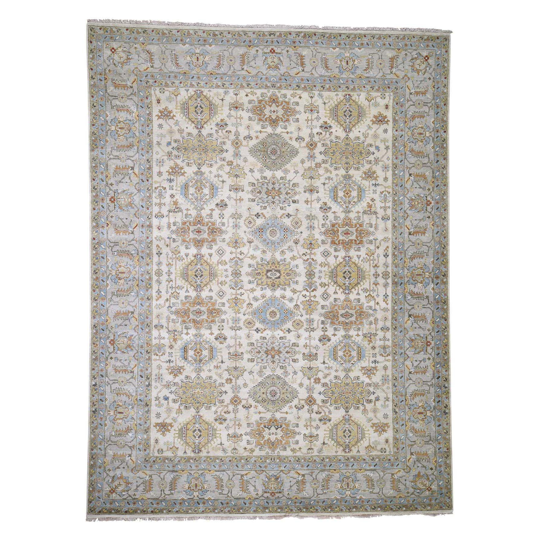 "8'10""x11'10""  Karajeh Design Pure Wool Hand-Knotted Oriental Rug"