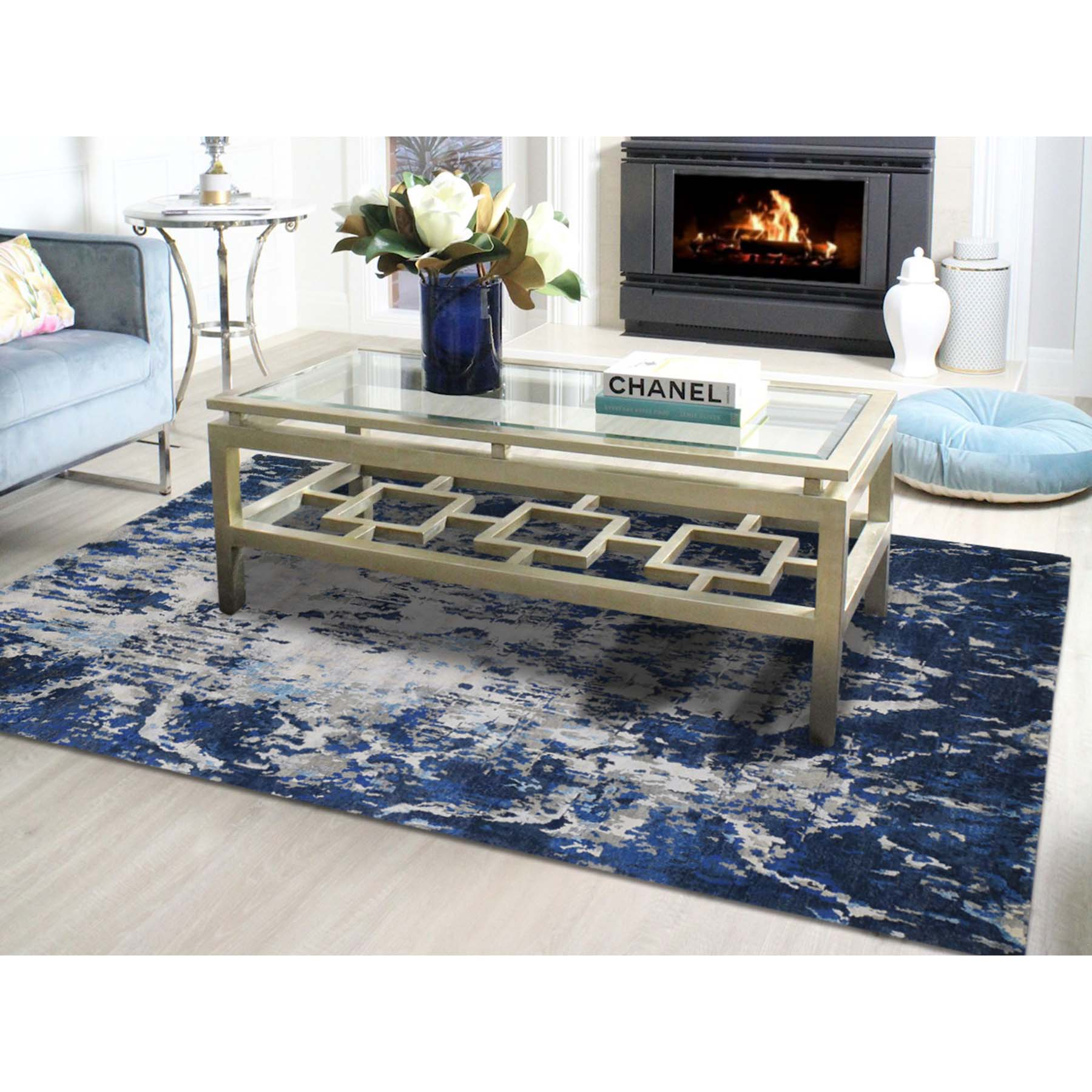 6-x9-1  Abstract Design Hi-Low Pile Wool And Silk Hand-Knotted Modern Rug