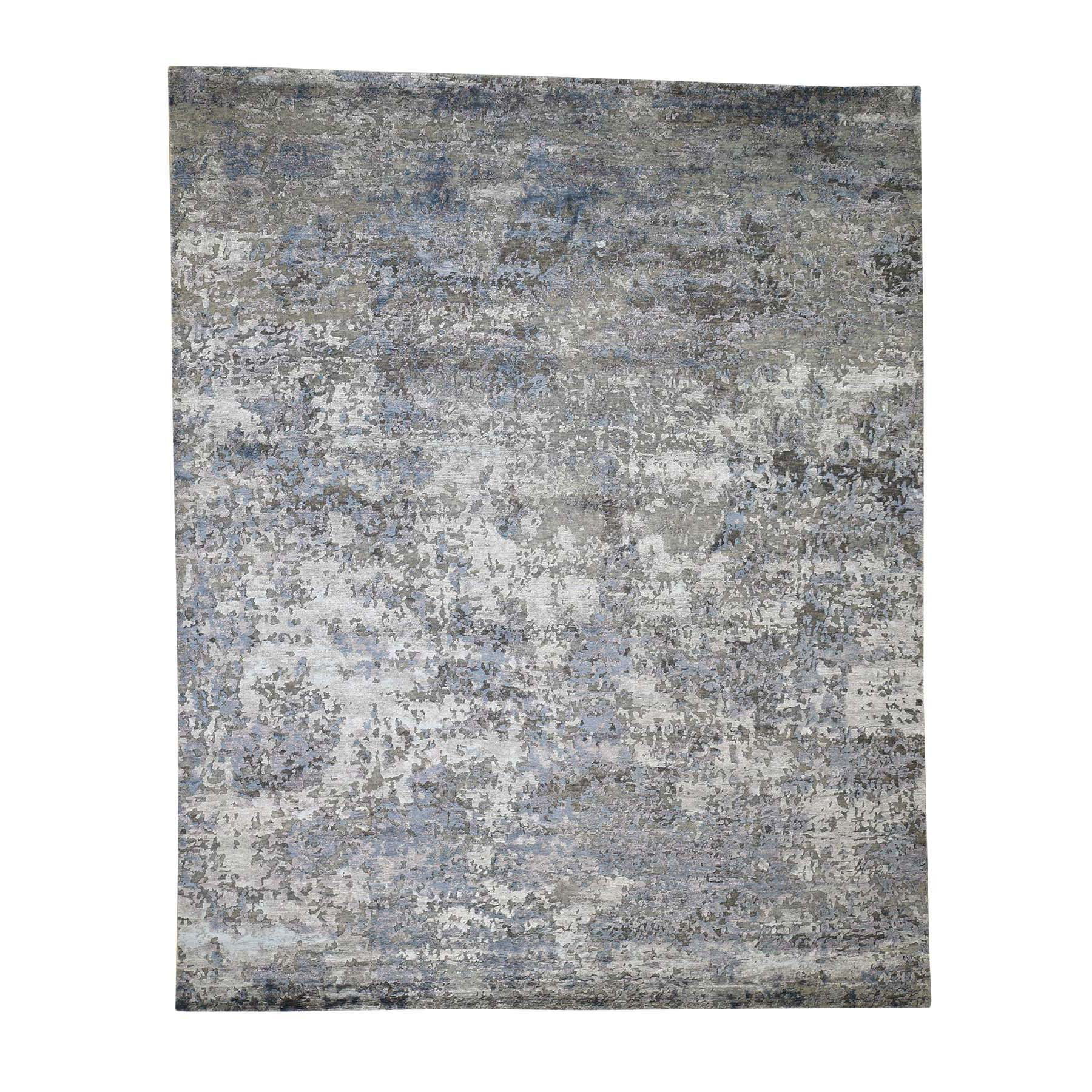 "7'10""x9'9"" Modern Hi-Low Pile Abstract Design Wool And Silk Hand-Knotted Modern Rug"
