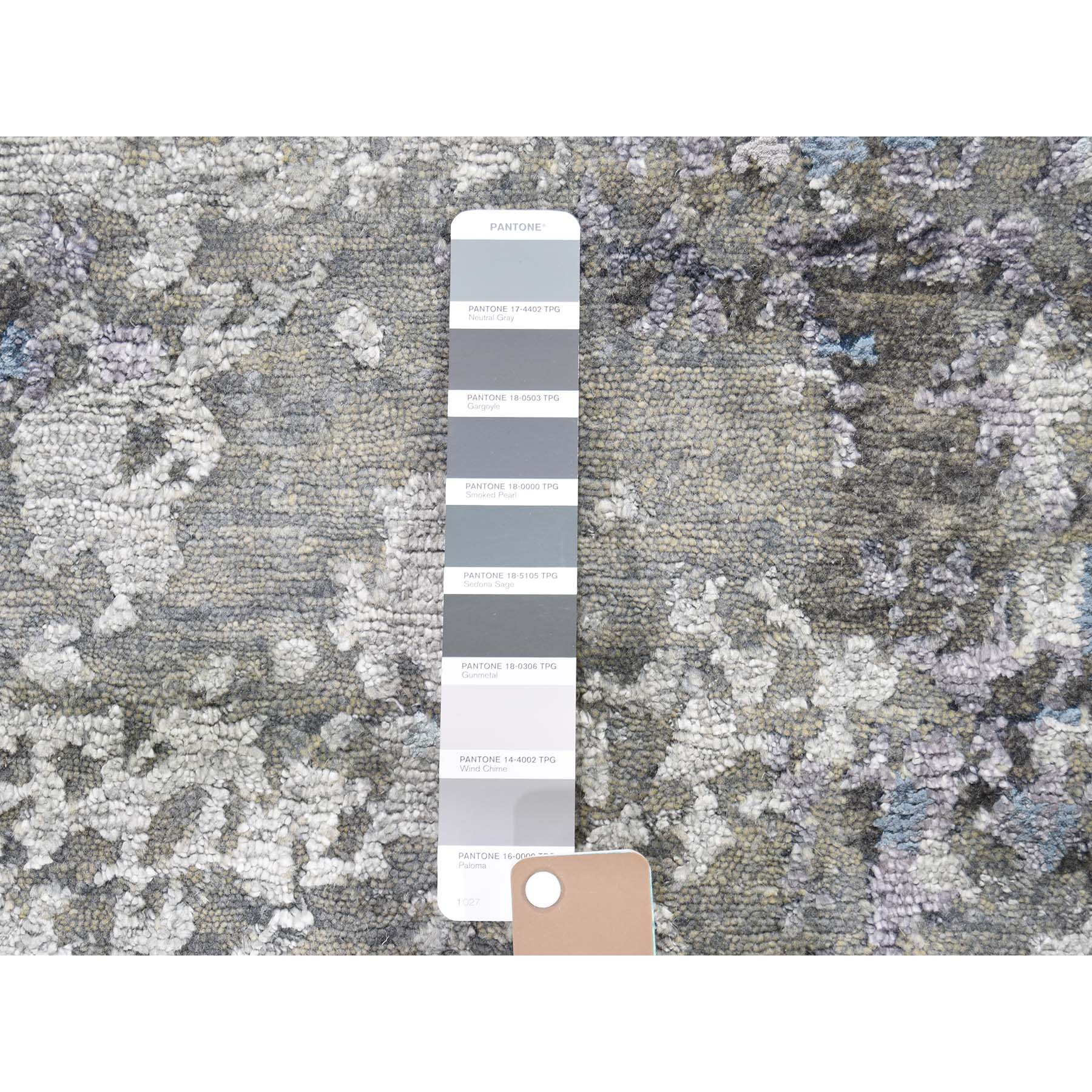 7-10 x9-9  Modern Hi-Low Pile Abstract Design Wool And Silk Hand-Knotted Modern Rug