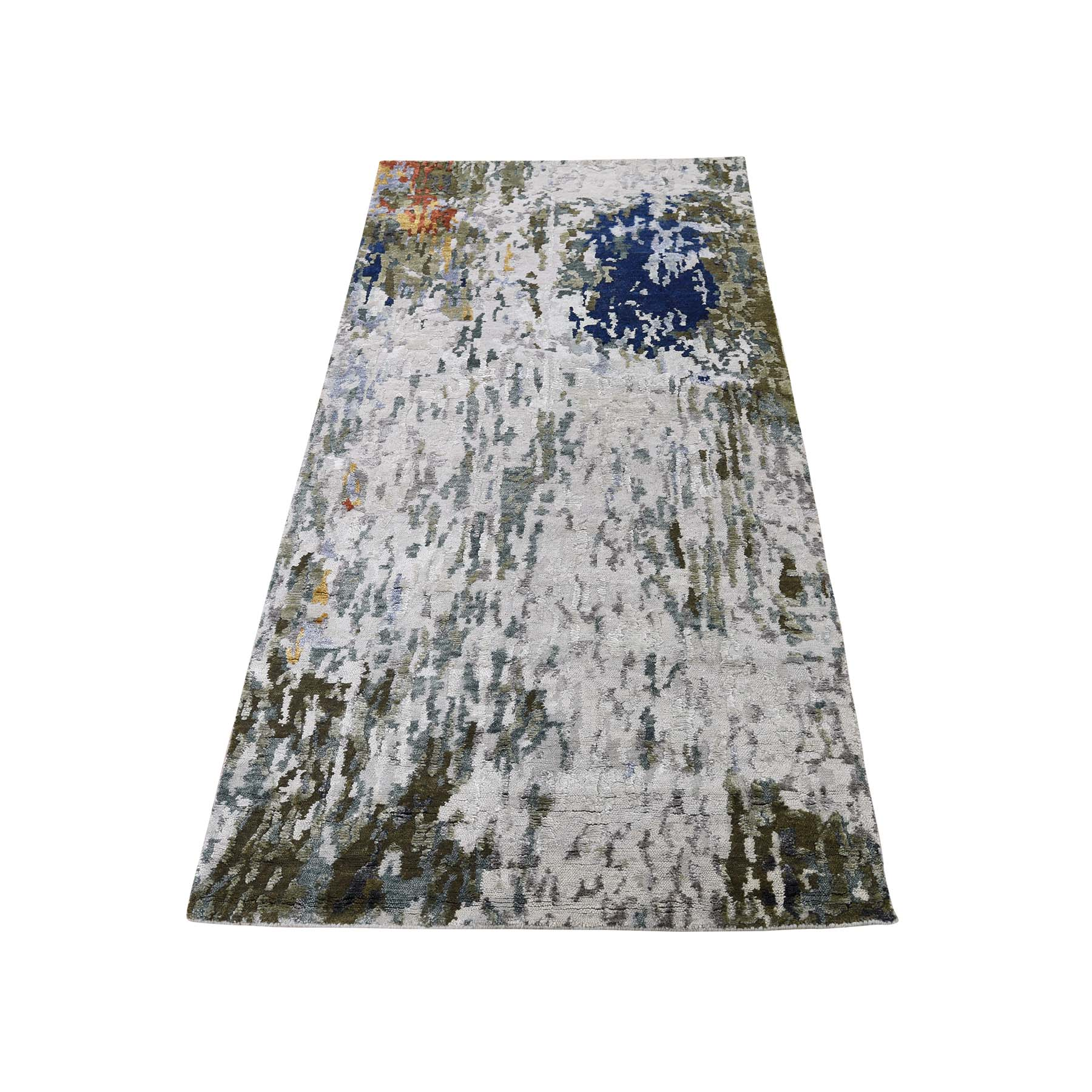 "2'6""x5'8"" Abstract Design Hi-Low Pile Wool And Silk Runner Hand-Knotted Oriental Rug"