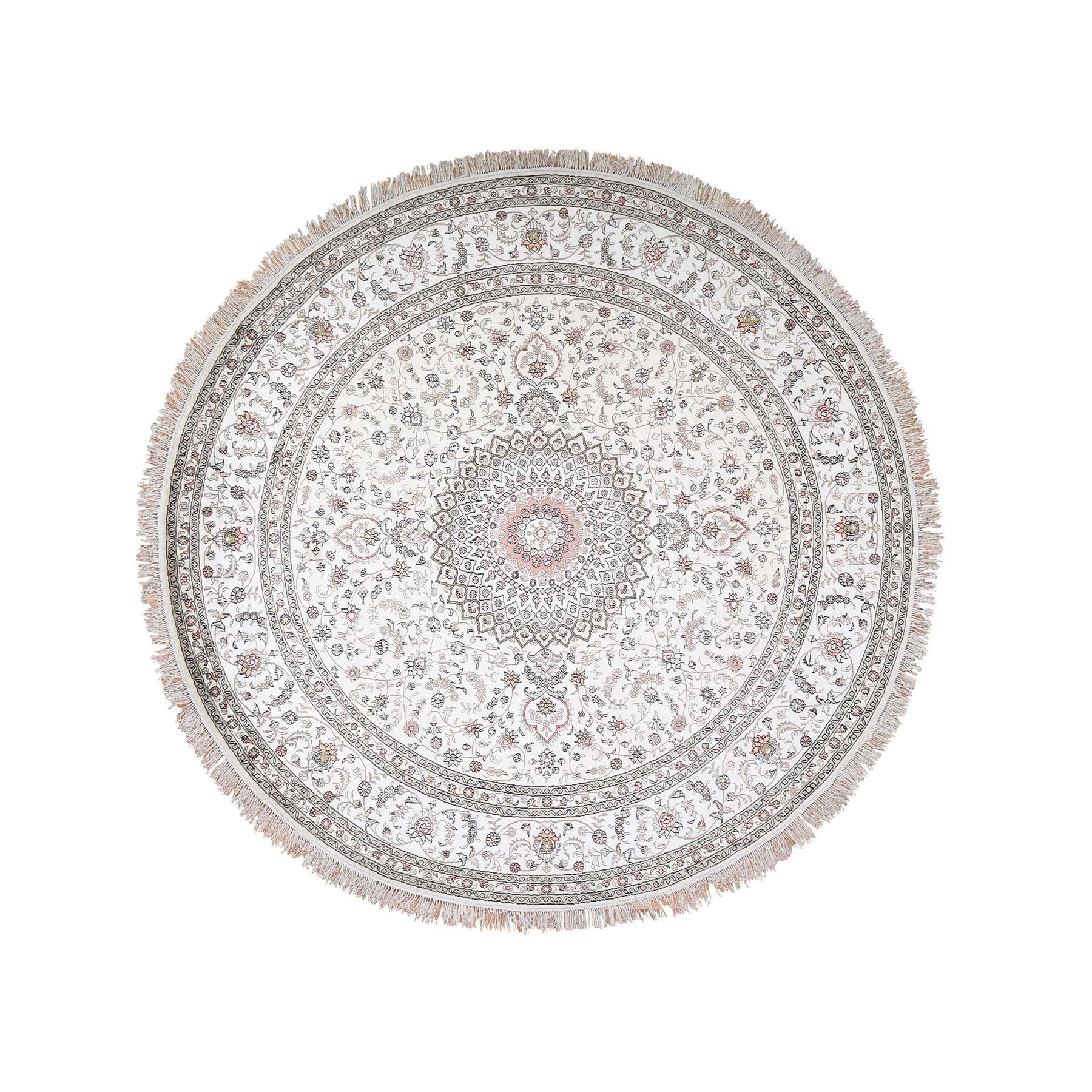 "9'1""x9'1"" Round Silken Esfahan 250 kpsi Ivory Hand Knotted Oriental Rug"