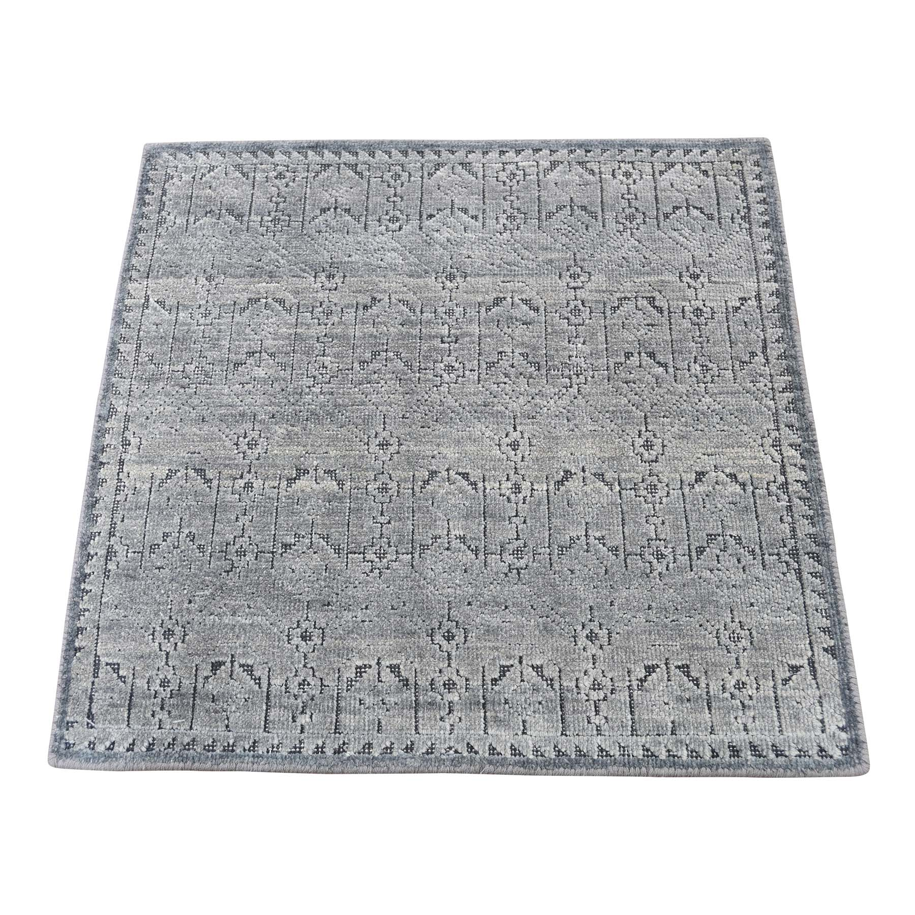 """2'X2'1"""" Silk With Oxidized Wool Hand-Knotted Oriental Sample Rug moadd6e7"""
