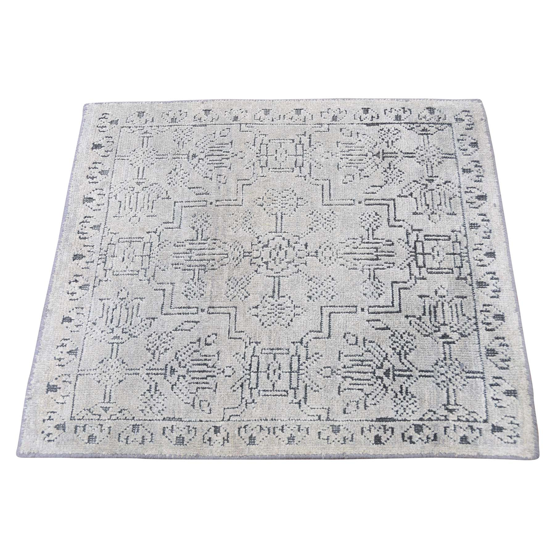 """2'X2'1"""" Silk With Textured Wool Hand-Knotted Oriental Sample Rug moadd6e8"""